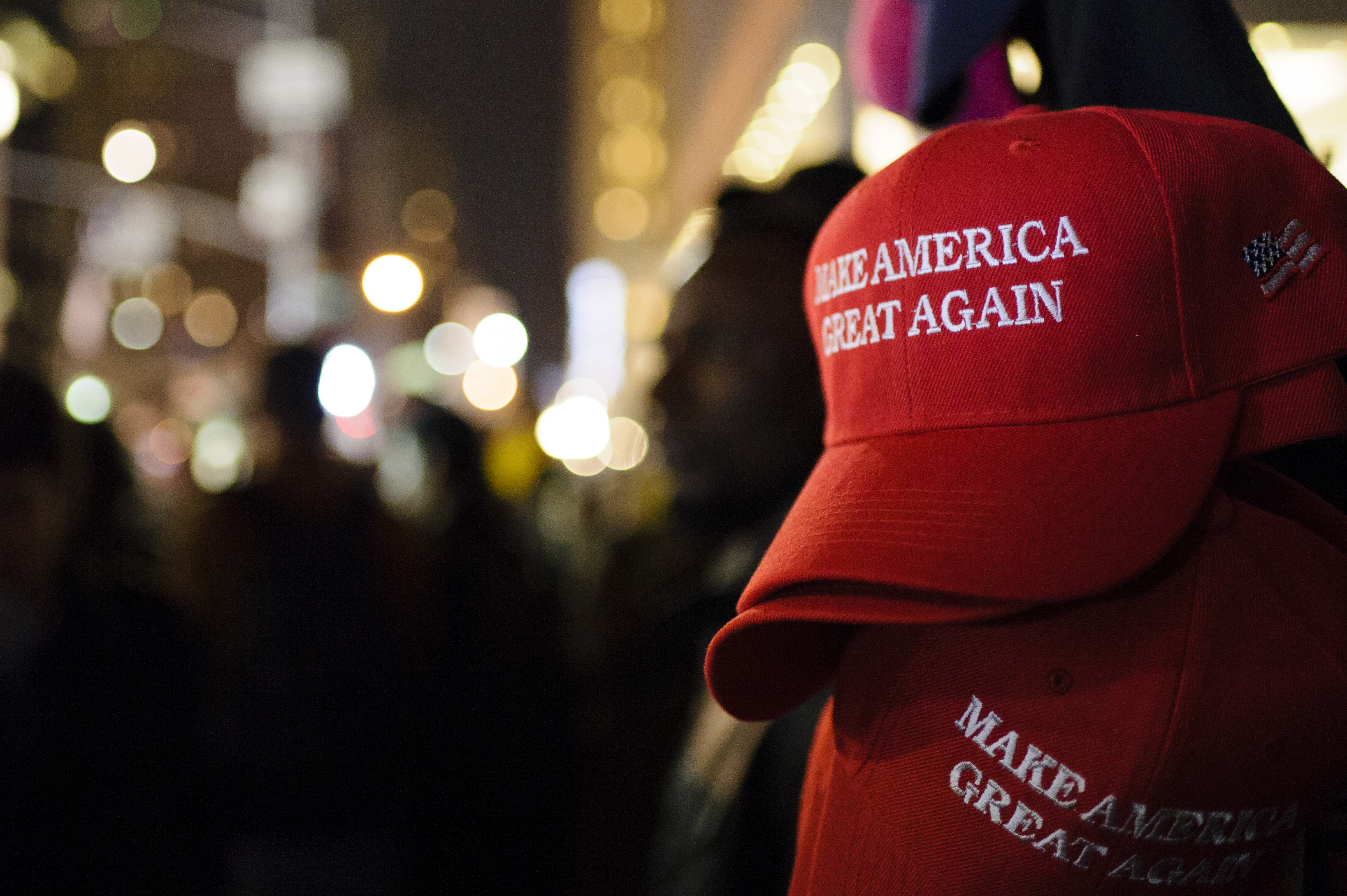 Make America Great Again  red baseball caps, signature headwear of the Donald Trump campaign and its supporters, stand on sale on 6th Avenue in Midtown Manhattan.