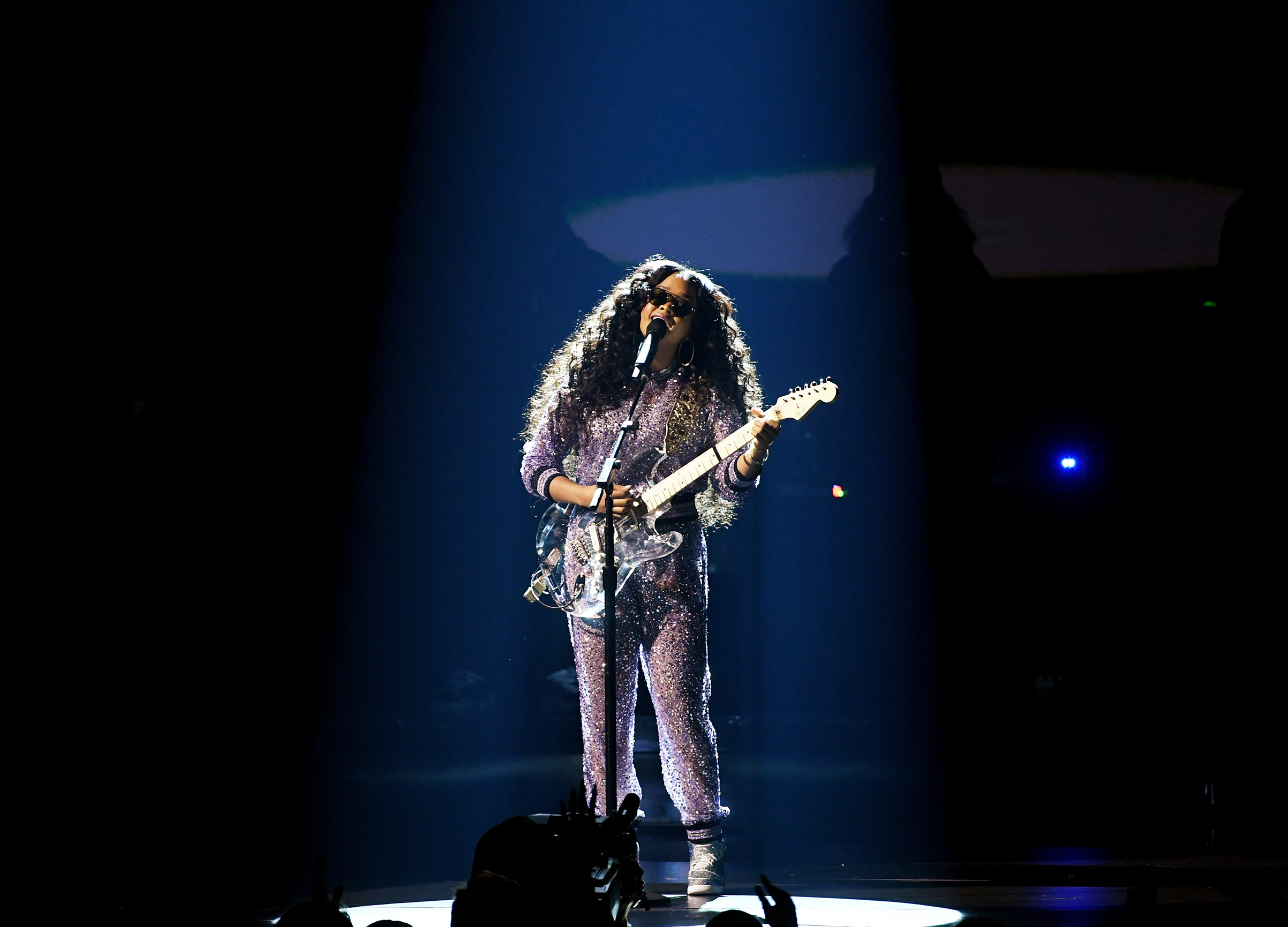 H.E.R. performs onstage during the 61st Annual GRAMMY Awards at Staples Center on Feb. 10, 2019 in Los Angeles.