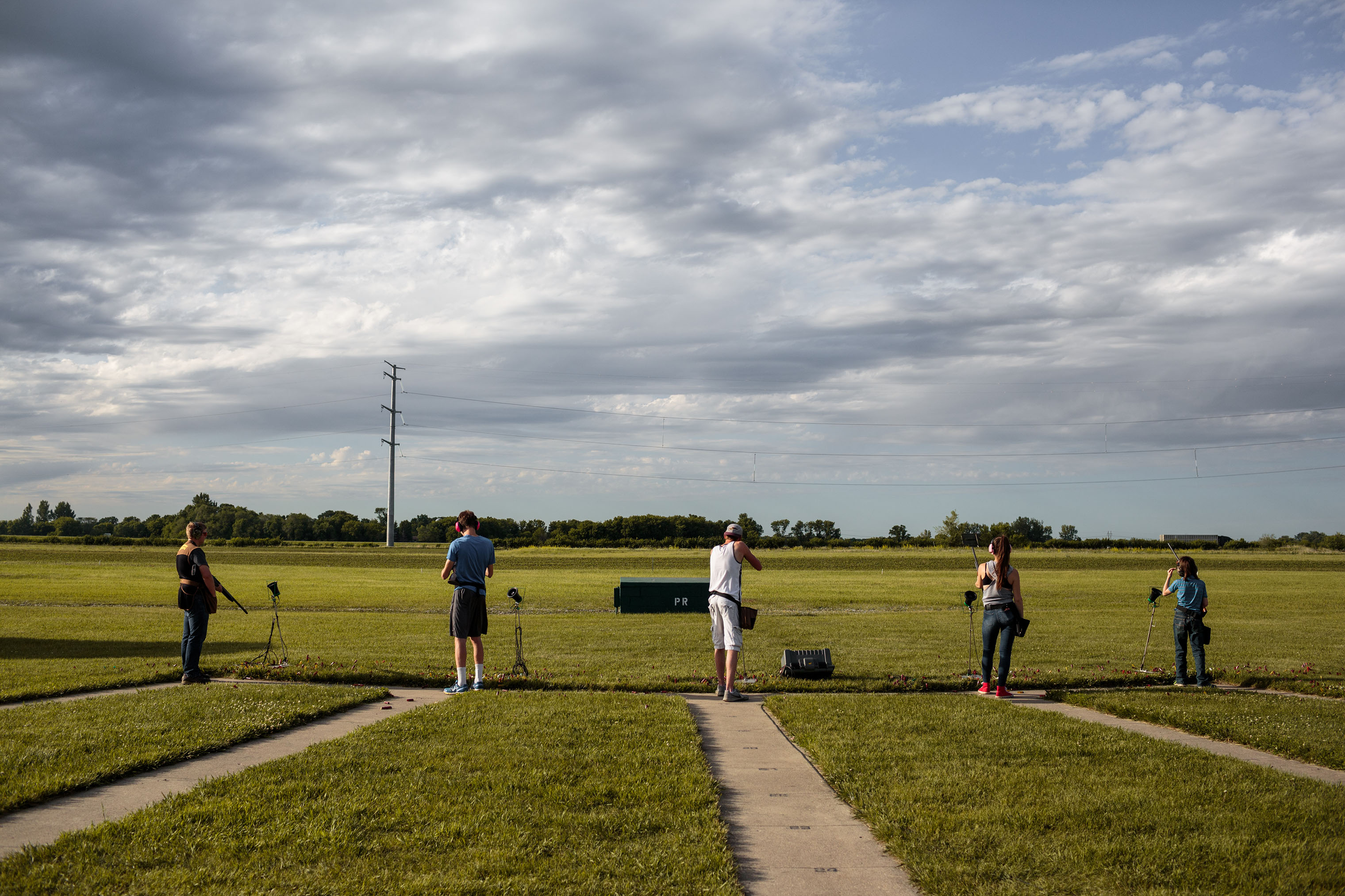 Students from Eyota practice shooting before competing at the trap shooting championship.