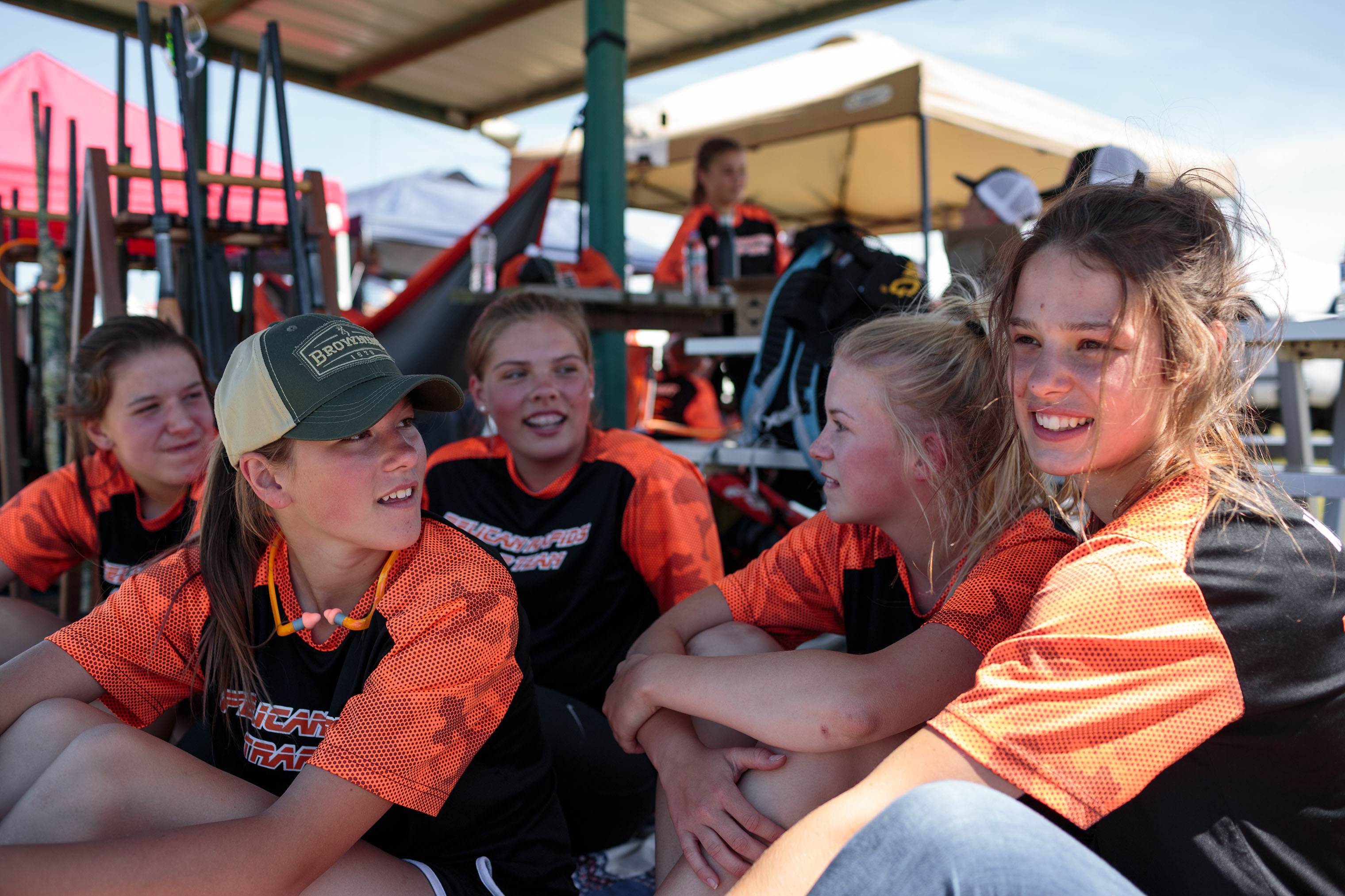 Shooters from Pelican Rapids, MN, hang out together after finishing their competition.
