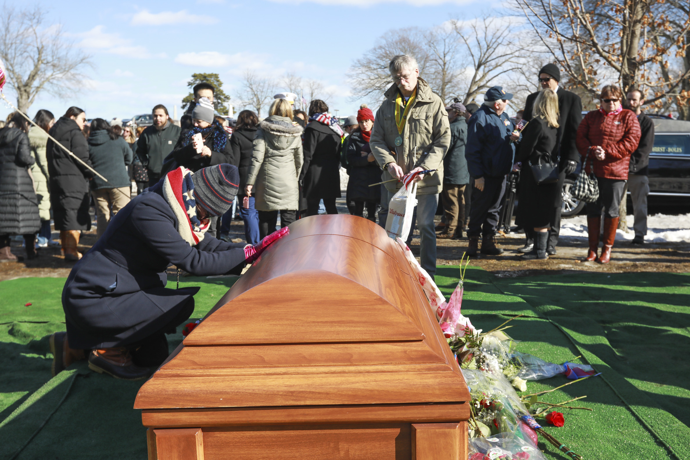 Hundreds attend the funeral for Army Veteran James McCue to pay their respects at the Bellevue Cemetery on Thursday, February 14, 2019 in Lawrence, Massachusetts.