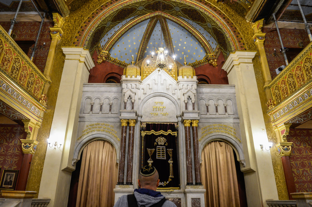 A Jewish man is seen inside the Temple Synagogue at Kazimierz, Krakow's historic Jewish quarter during the Night of the Temples.