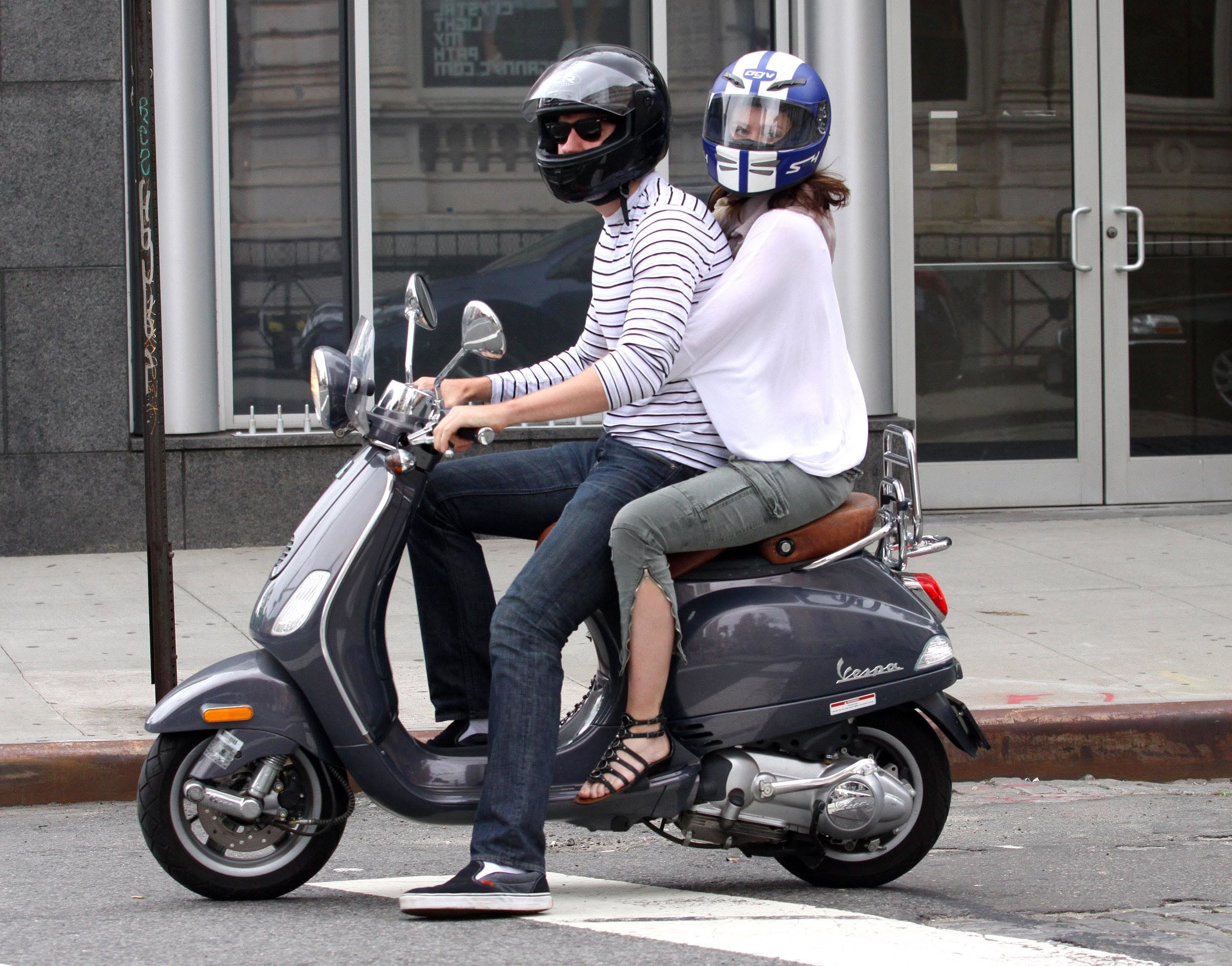 British actress EMILY BLUNT and fiancé JOHN KRASINSKI ride their Vespa scooter in the East Village, NYC.