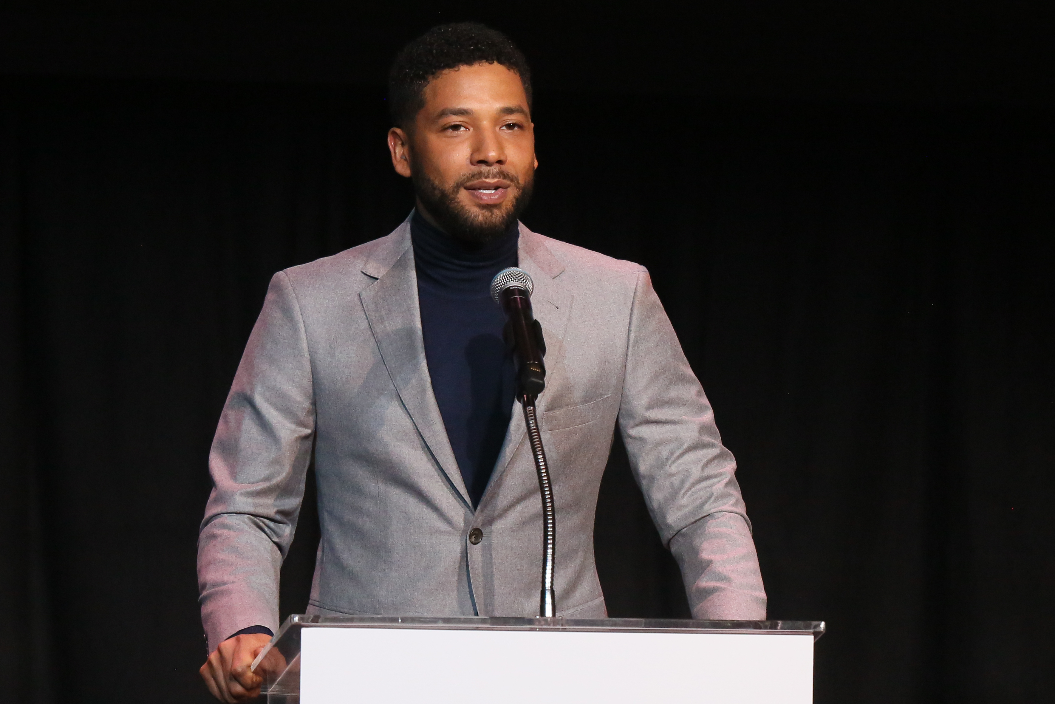 Jussie Smollett speaks at the Children's Defense Fund California's 28th Annual Beat The Odds Awards at Skirball Cultural Center in Los Angeles on Dec. 6, 2018.