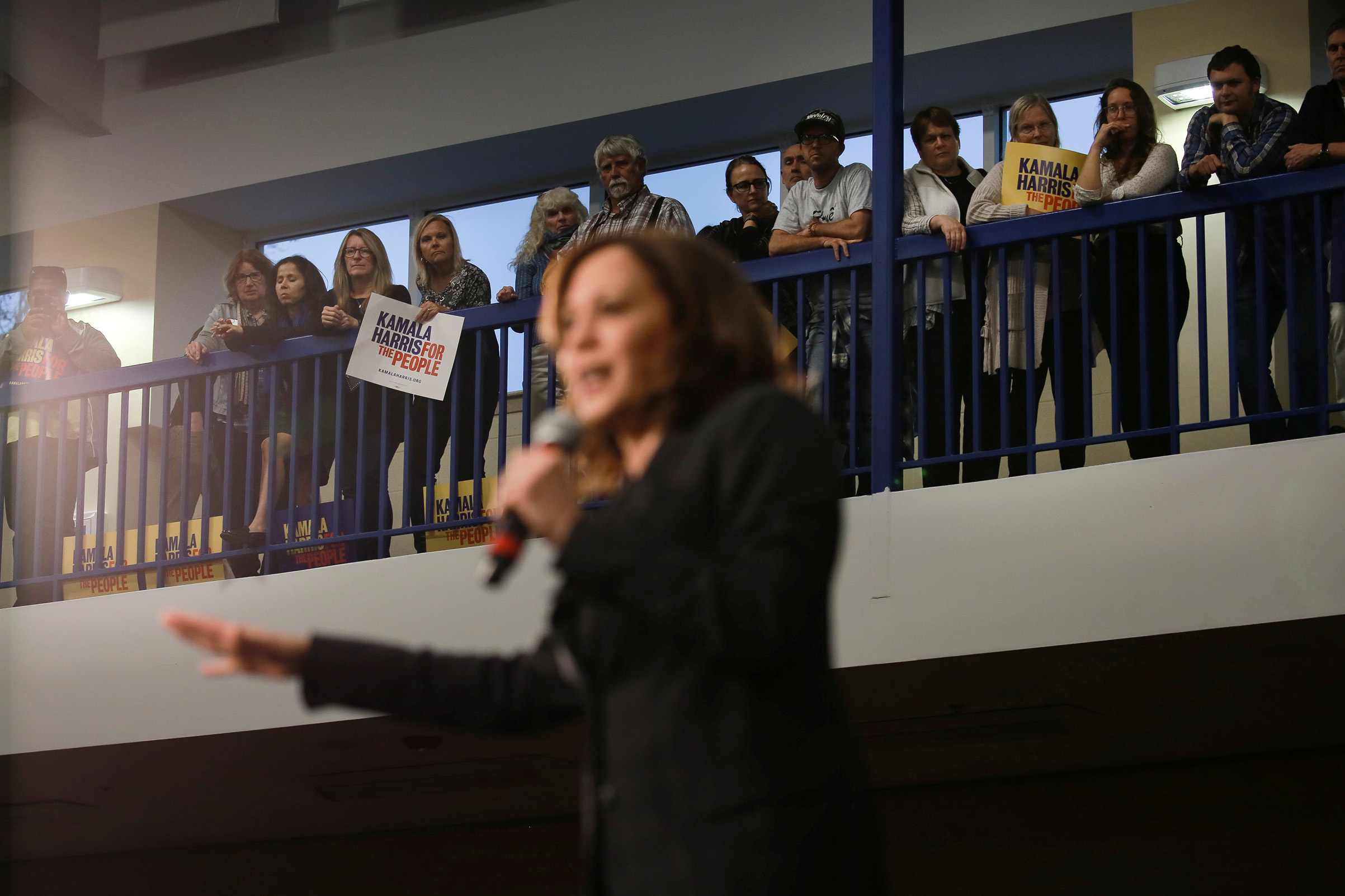 Sen. and Democratic presidential hopeful Kamala Harris campaigns at a town hall in North Charleston, S.C., on Feb. 15, 2019.
