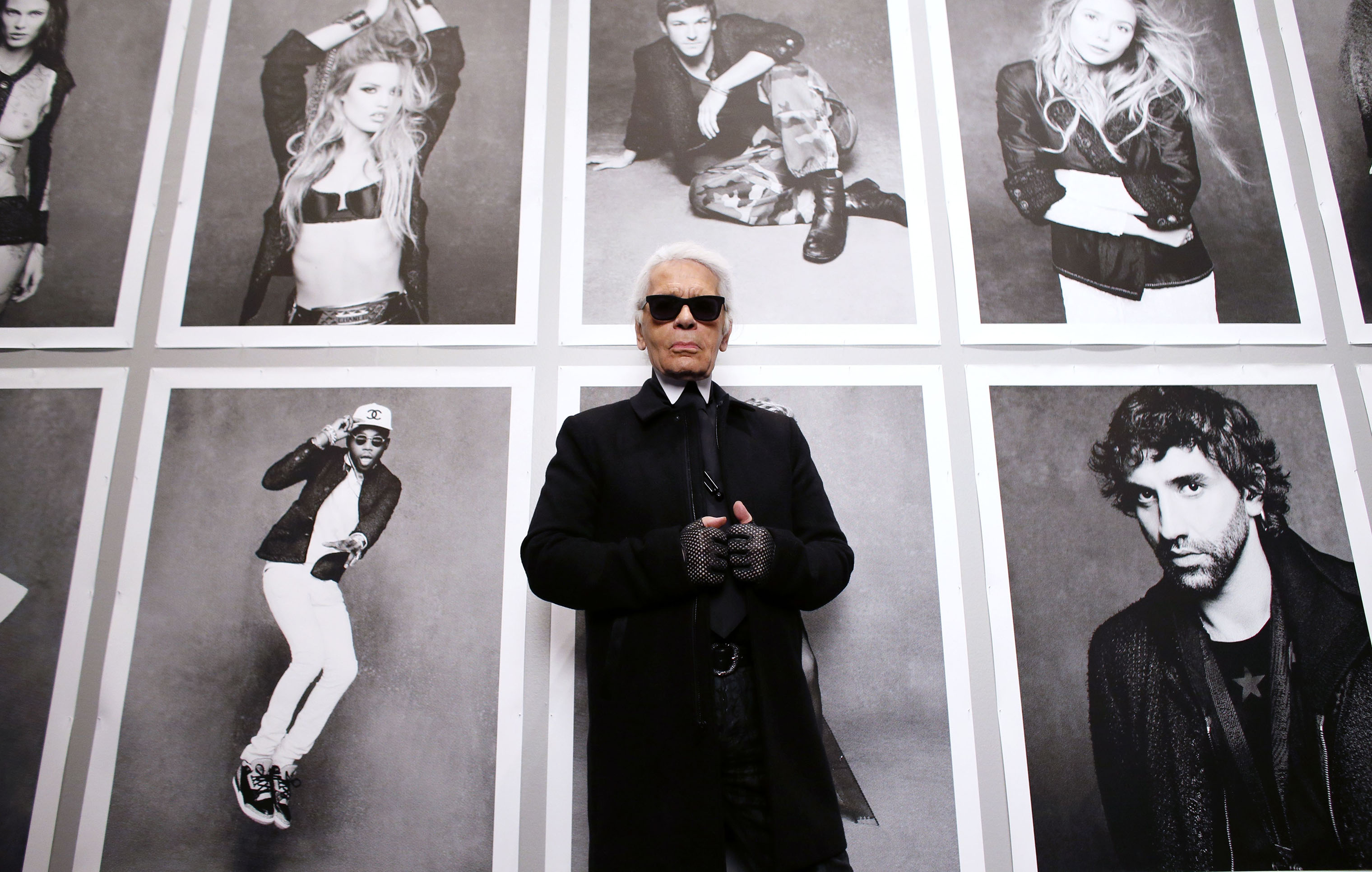 Chanel's creative director Karl Lagerfeld poses on Nov. 8, 2012 before the opening of his photo exhibition entitled  Little Black Jacket  at the Grand Palais in Paris.