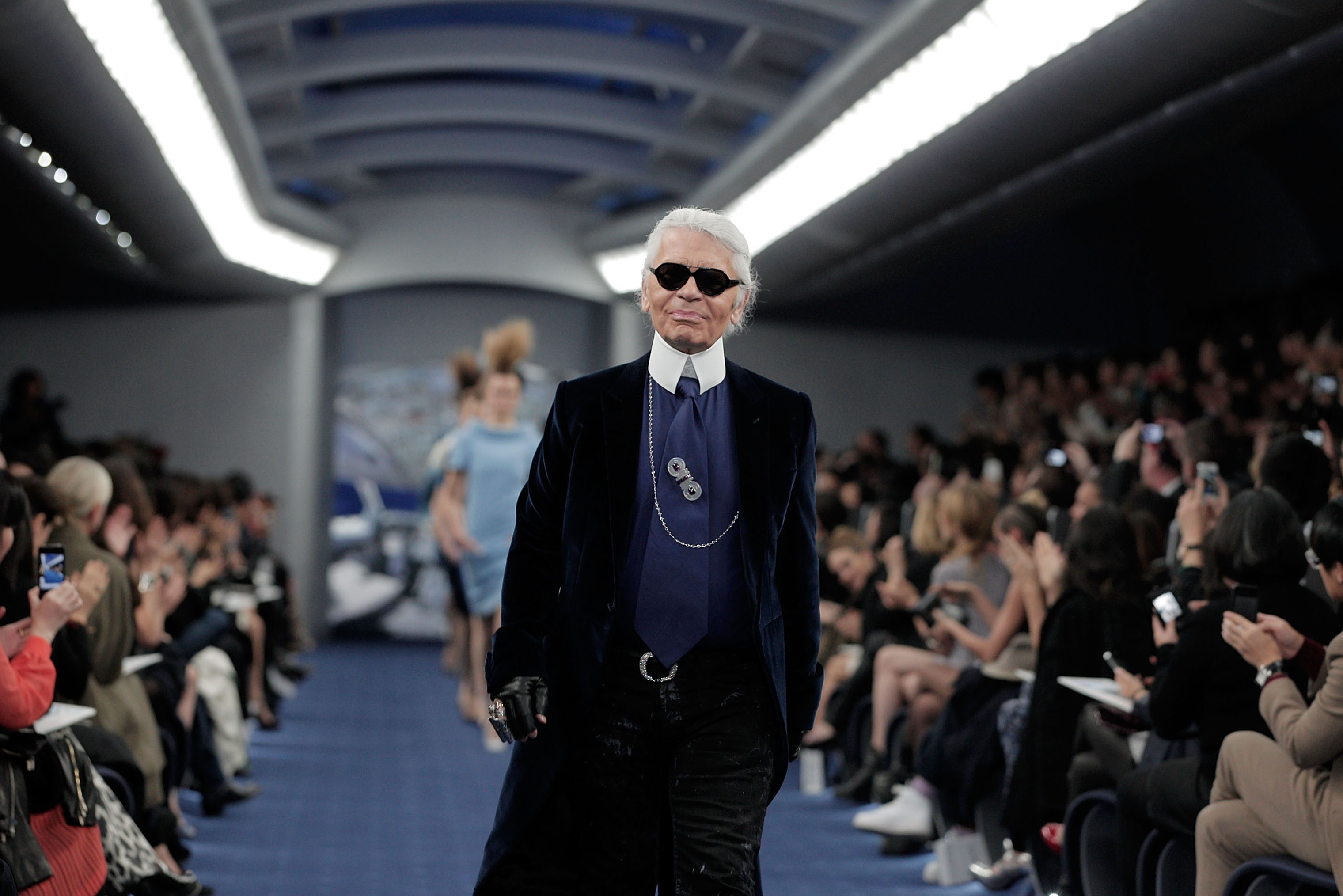 Designer Karl Lagerfeld walks on the runway during the Chanel 2012 Spring/Summer Haute Couture Collection Show at Shinjuku Gyoen Park on March 22, 2012 in Tokyo, Japan.