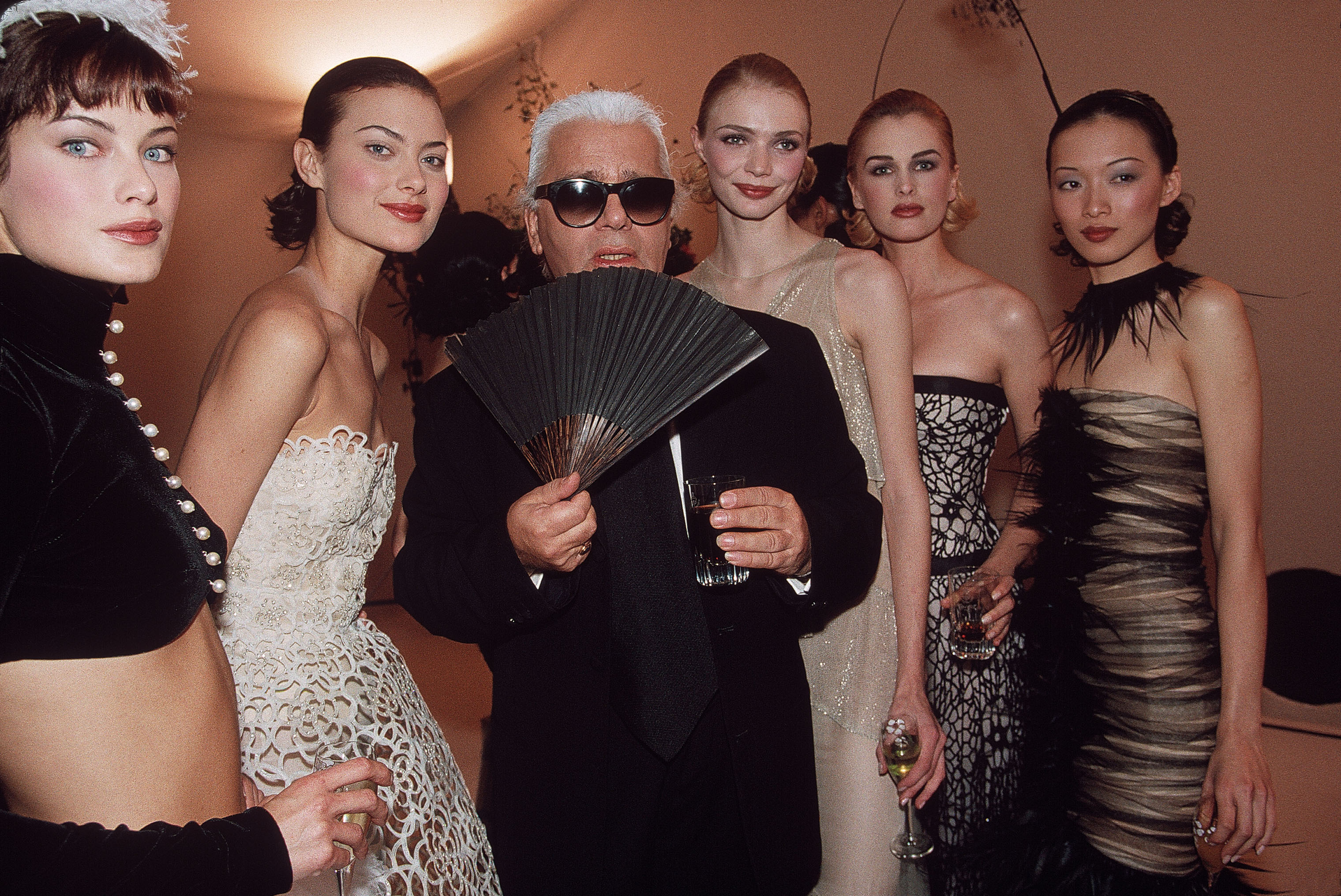 Karl Lagerfeld at the Chanel Summer 1997 Collection fashion show.