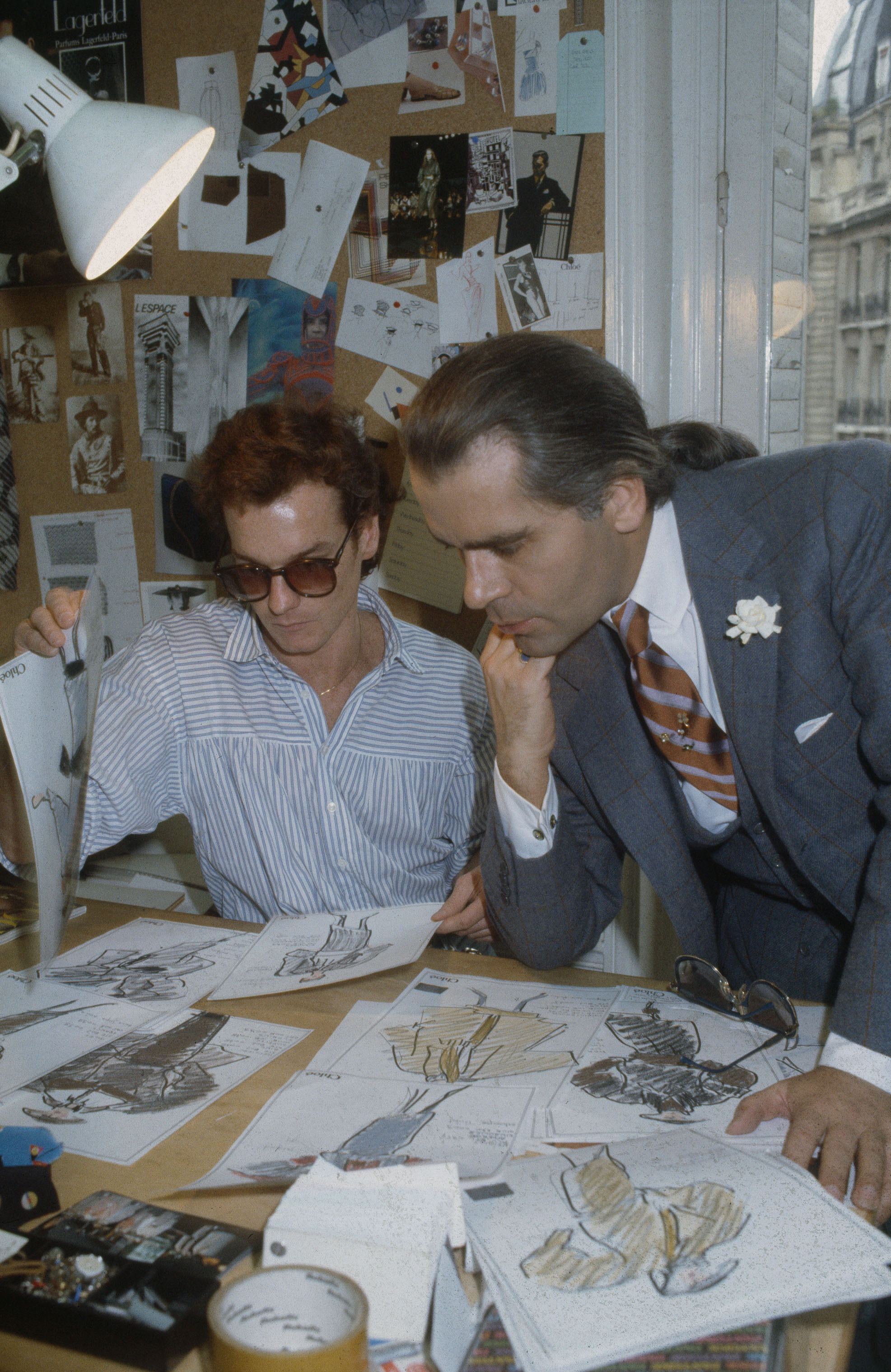 Karl Lagerfeld at work at Chloe's Paris studio circa 1983.