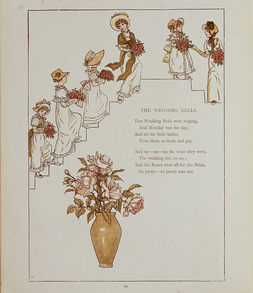 Illustration for  The Wedding Bells  From Kate Greenaway's 'Marigold Garden' (1885).