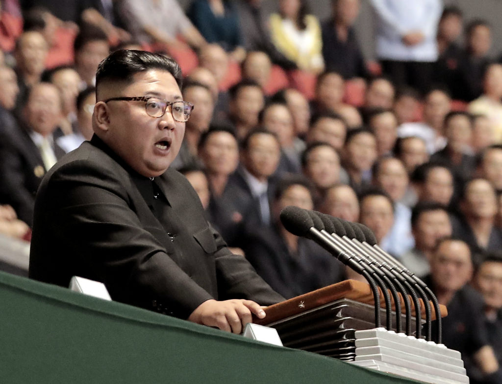 North Korean leader Kim Jong Un speaks after watch the gymnastic and artistic performance at the May Day Stadium on Sept. 19, 2018 in Pyongyang, North Korea. Kim is set to meet President Trump in Hanoi, Vietnam and started to make his train journey to there on Feb. 23, 2019.