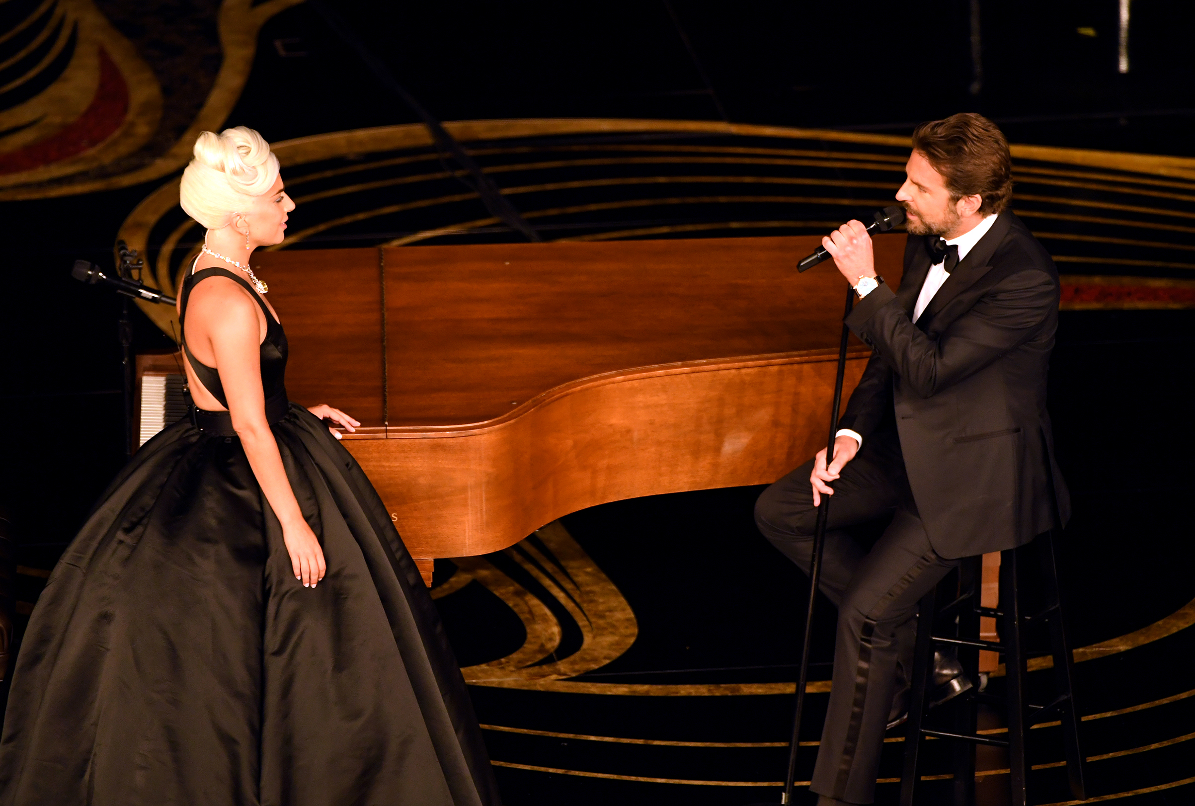Lady Gaga and Bradley Cooper perform onstage during the 91st Annual Academy Awards at Dolby Theatre on Feb. 24, 2019.