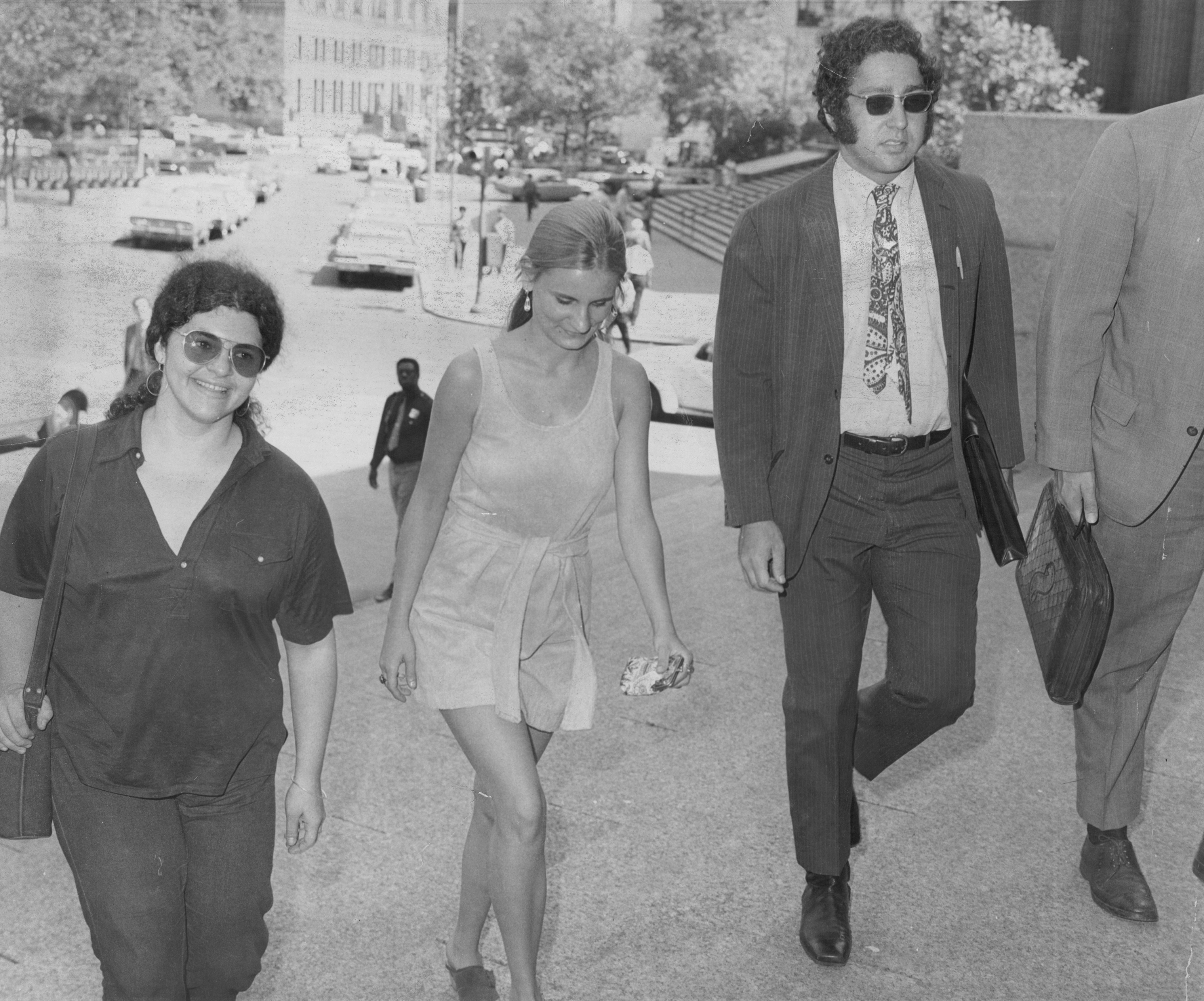 Attorney Lewis M. Steel, right, arrives at federal court in lower Manhattan on Aug. 3, 1970.