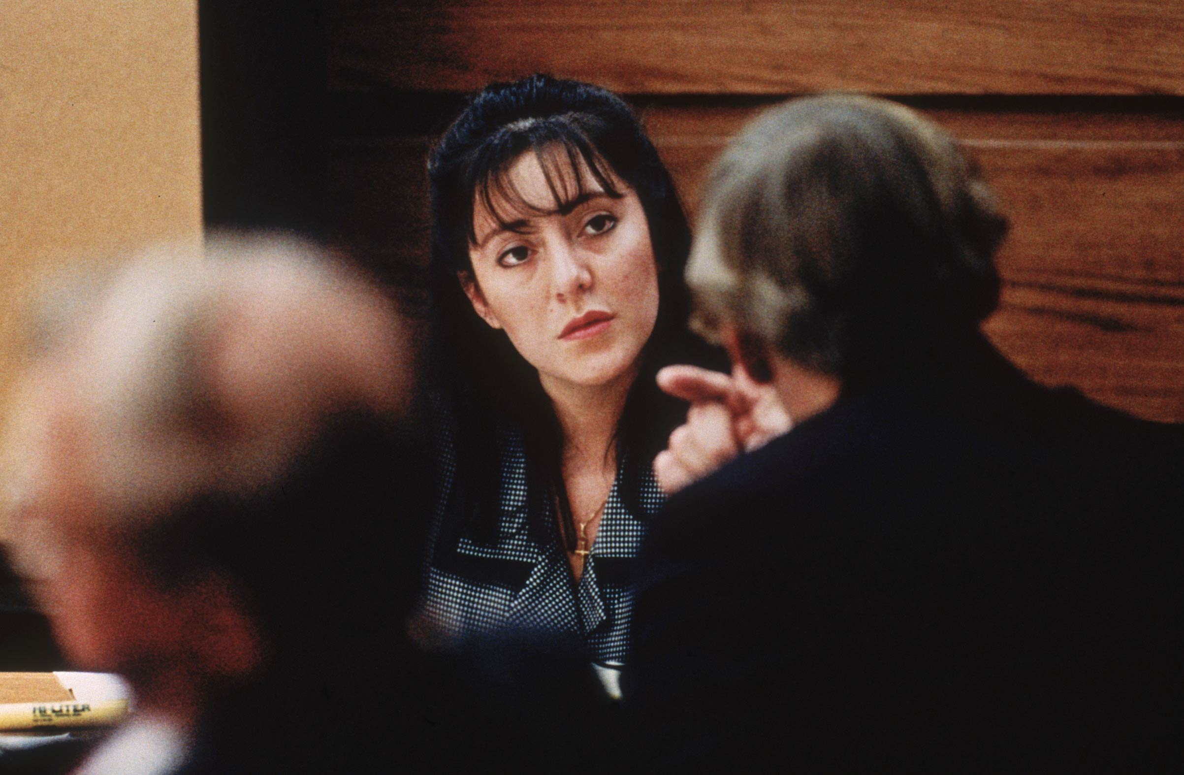 Lorena Bobbitt takes the witness stand in her trial for cutting off her husband's penis in January 1994.