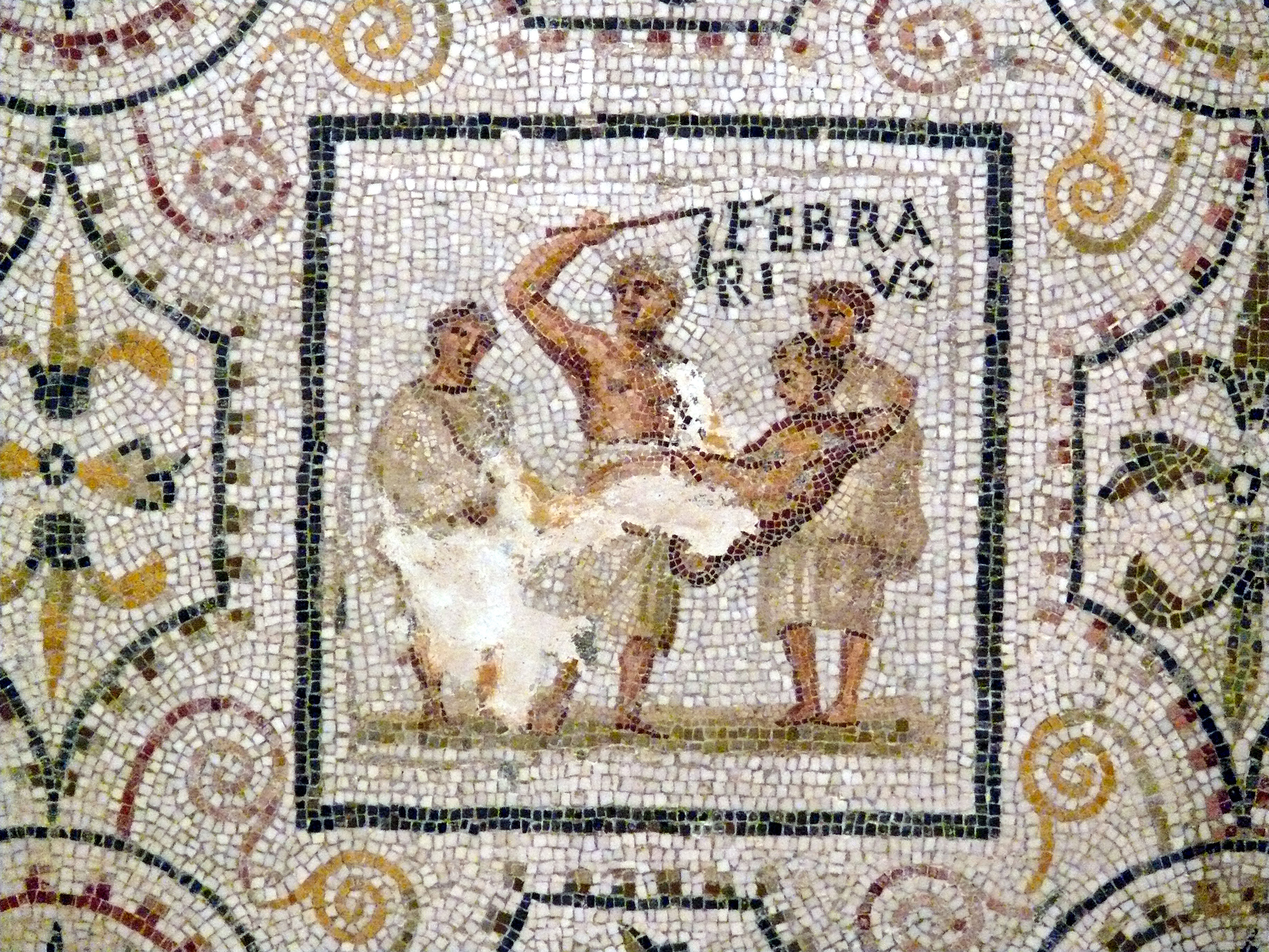 A mosaic depiction of Lupercalia rituals