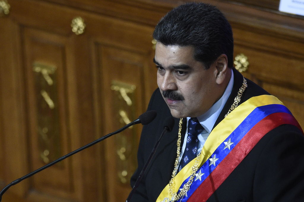 Venezuelan President Nicolas Maduro speaks before the Constituent Assembly to announce measures to alleviate the serious economic crisis, at the Federal Legislative Palace in Caracas on January 14, 2019. The Maduro regine has halted shipping 20 tons of gold bars overseas amid global economic pressures on Feb. 2, 2019.