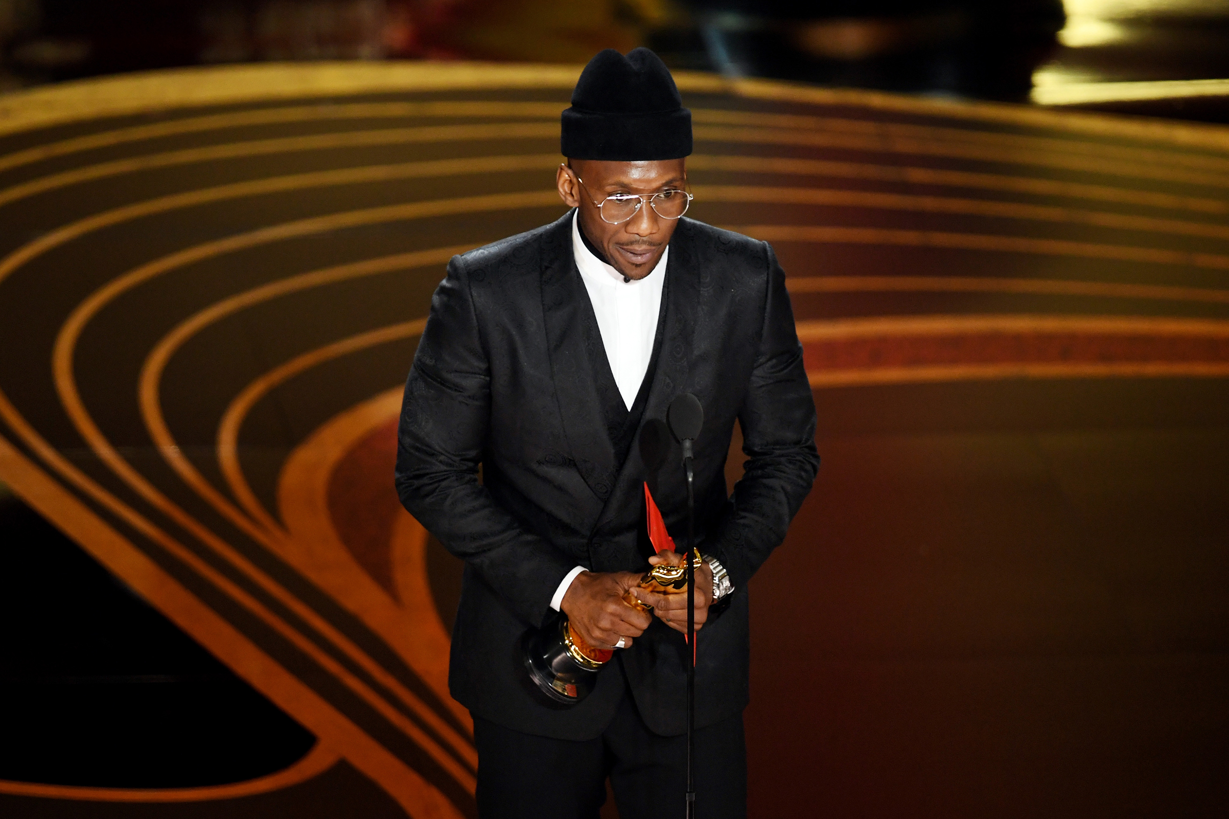 Mahershala Ali accepts the Actor in a Supporting Role award for 'Green Book' onstage during the 91st Annual Academy Awards at Dolby Theatre on Feb. 24, 2019.