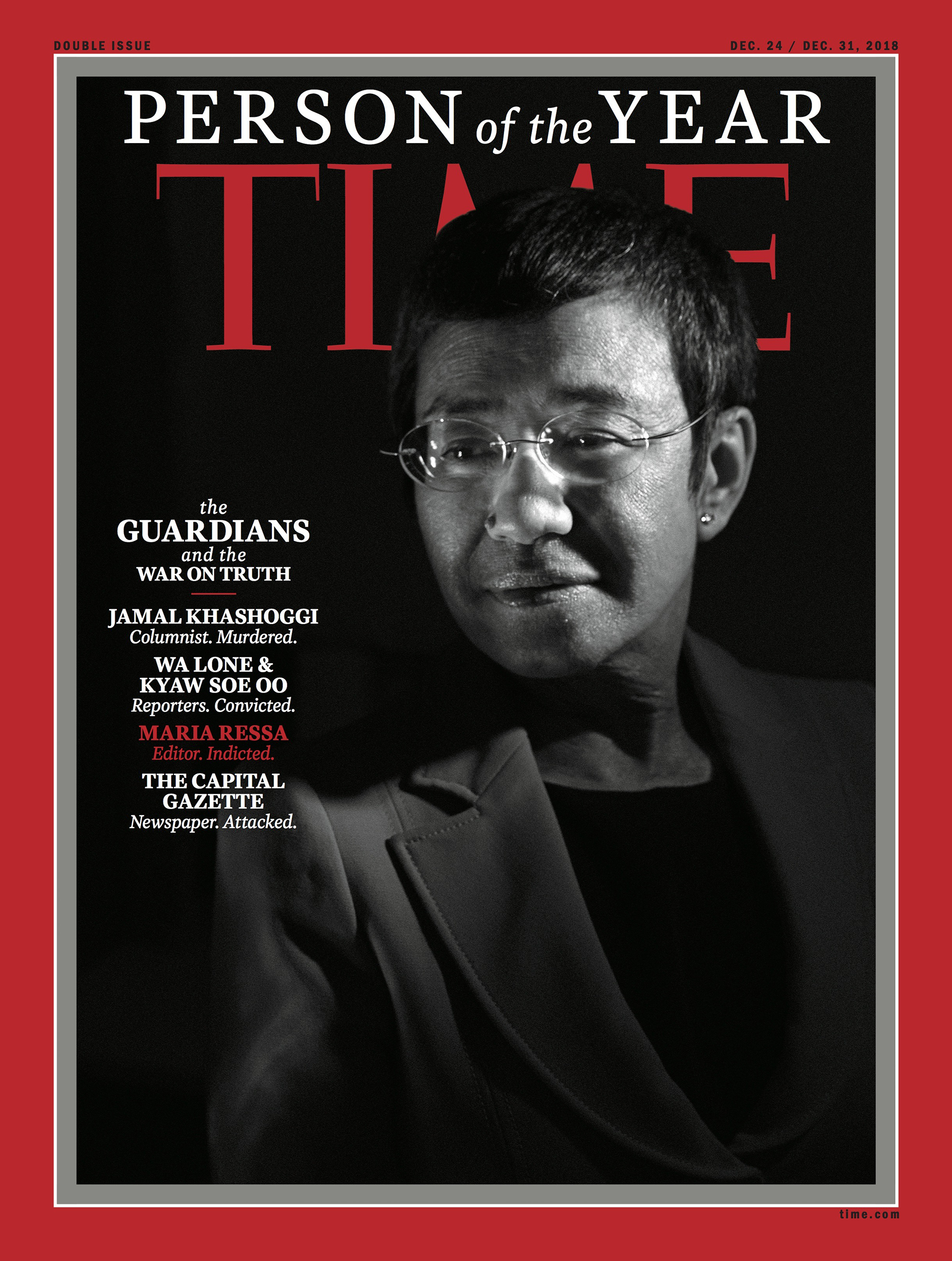 Ressa was among the journalists on TIME's 2018 Person of the Year covers