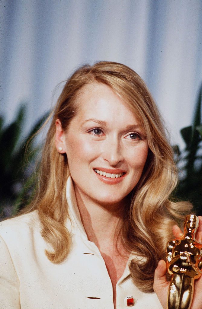 Actress Meryl Streep poses backstage after winning  Best Supporting Actress  during the 52nd Academy Awards at Dorothy Chandler Pavilion in Los Angeles, California.