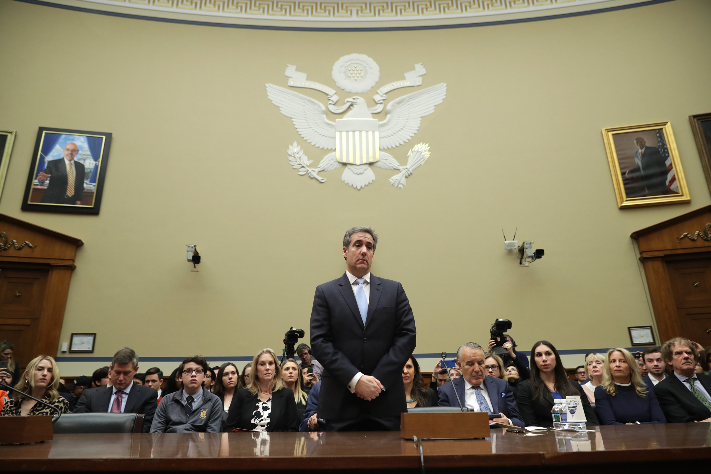 Michael Cohen prepares to testify before the House Oversight Committee on Capitol Hill Feb. 27, 2019 in Washington.