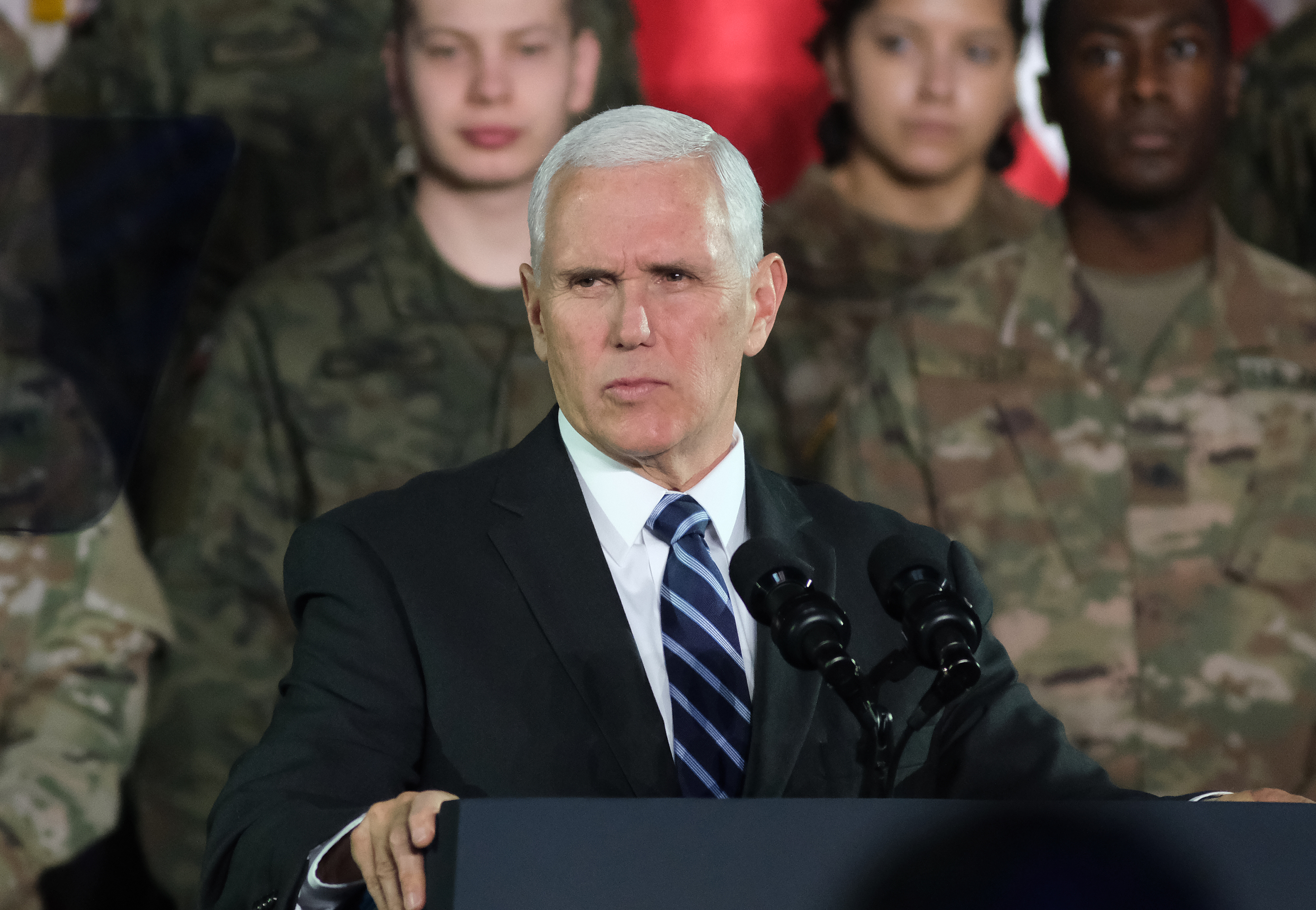 Vice President Mike Pence speaks while visiting Polish and U.S. soldiers at a military base on Feb. 13, 2019 in Warsaw, Poland.