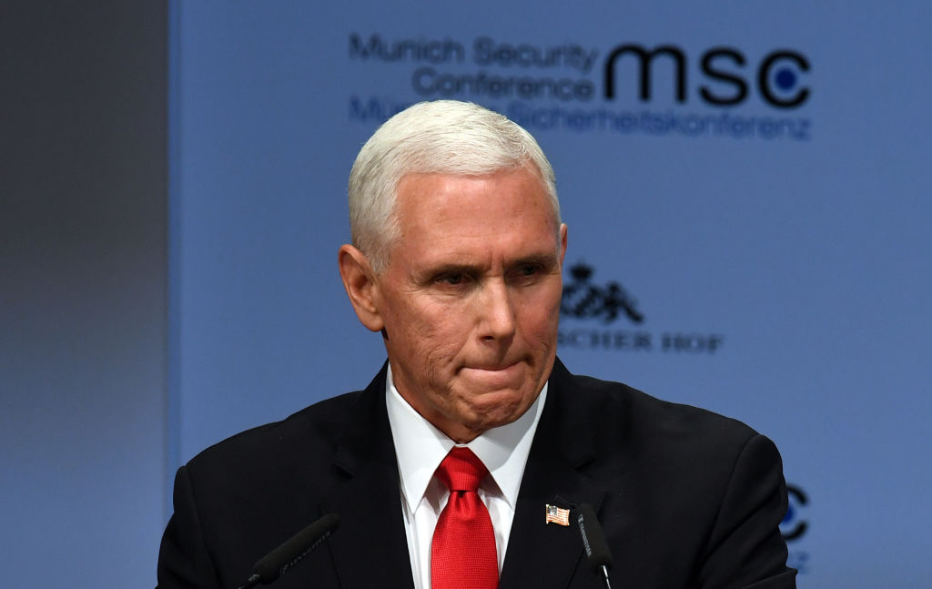 US Vice President Mike Pence speaks during the 55th Munich Security Conference in Munich on February 16, 2019.