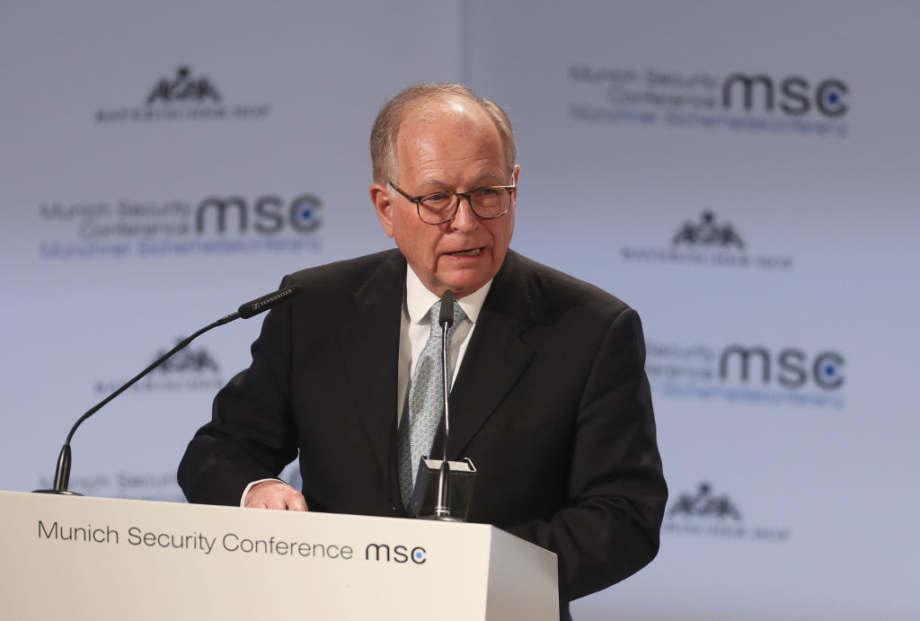 Wolfgang Ischinger, Chairman of the Munich Security Conference (MSC), gives a speech during the 55th Munich Security Conference on February 16, 2019 in Munich, Germany.