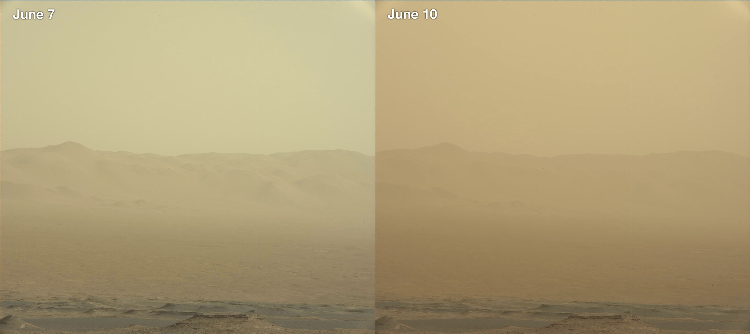 This combination of images made by NASA's Curiosity rover shows the rim of the Gale Crater on June 7 and 10, 2018, during a major dust storm. The Opportunity rover, which is inside the crater, fell silent as the storm blotted out the sun. On June 12, 2018, flight controllers tried to contact Opportunity, but the rover did not respond.