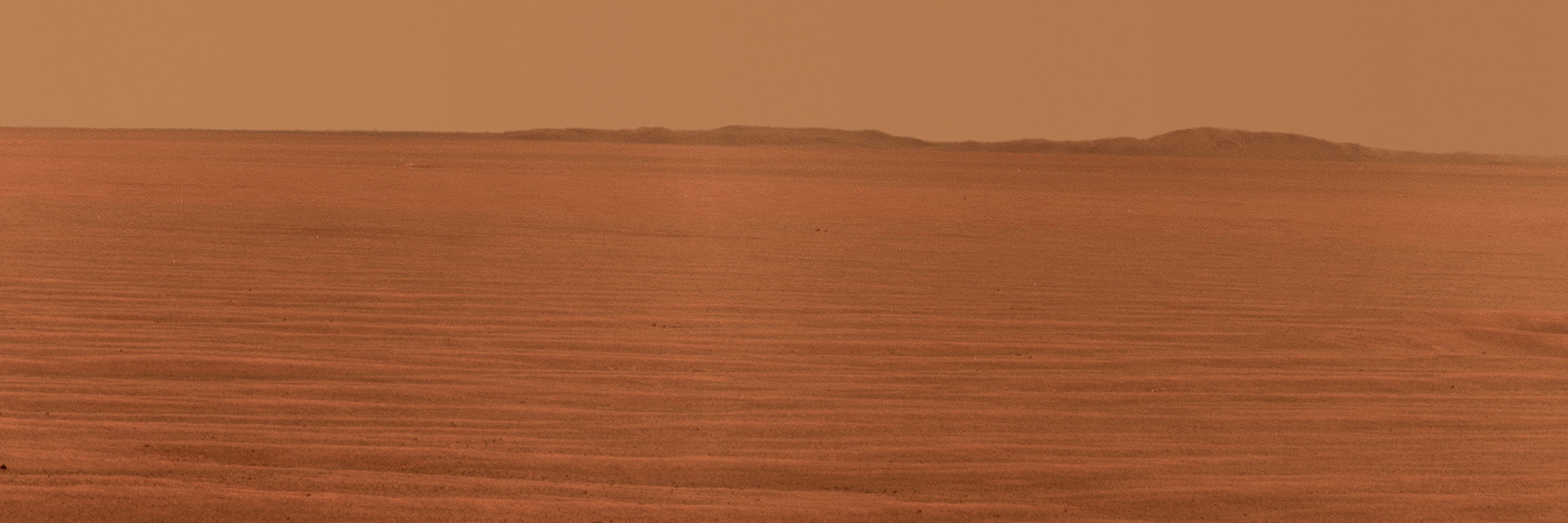 Opportunity used its panoramic camera to record this eastward horizon view on Oct. 31, 2010, its 2,407th Martian day, or sol, of the rover's work on Mars.