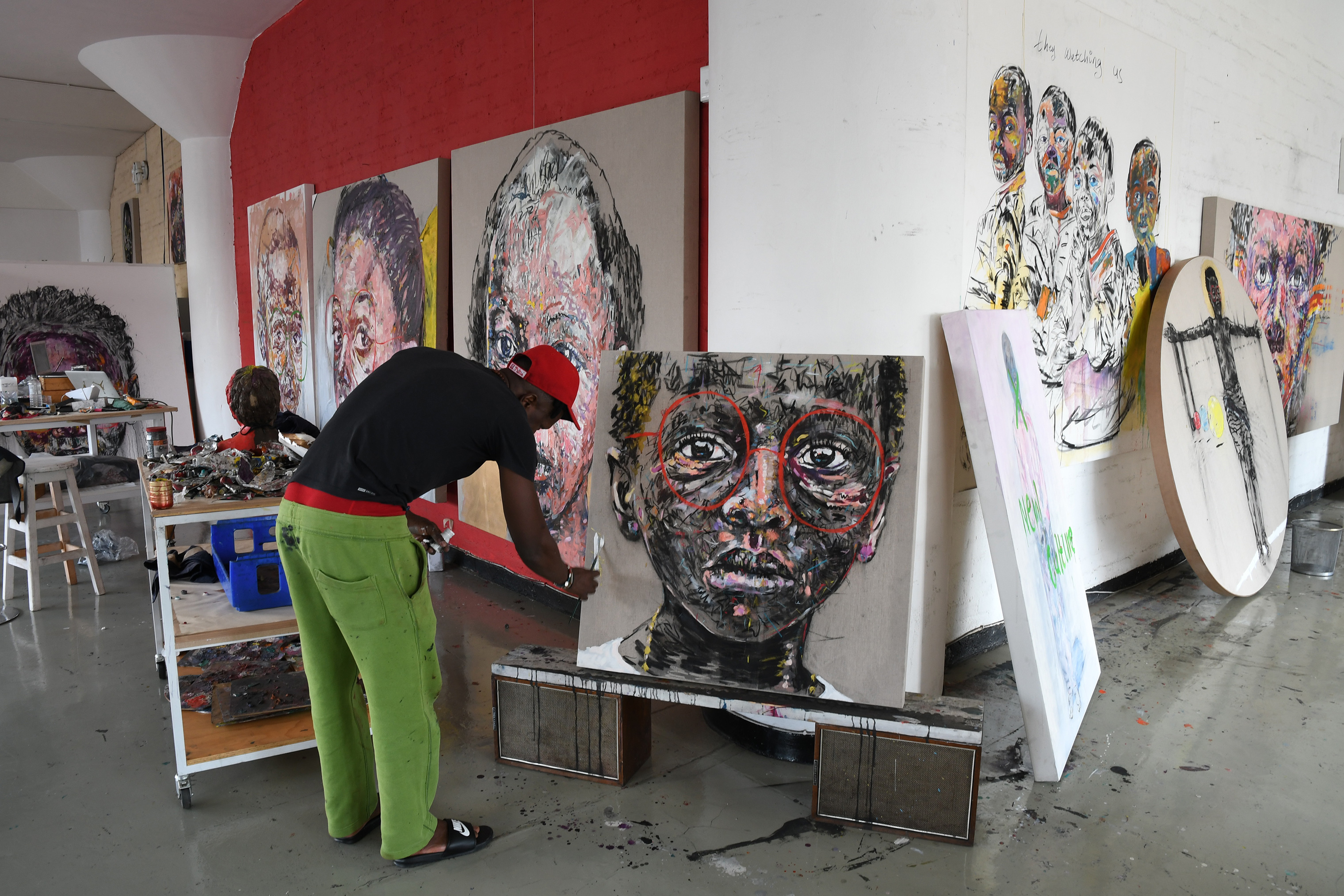 Nelson Makamo works in his studio in Johannesburg.