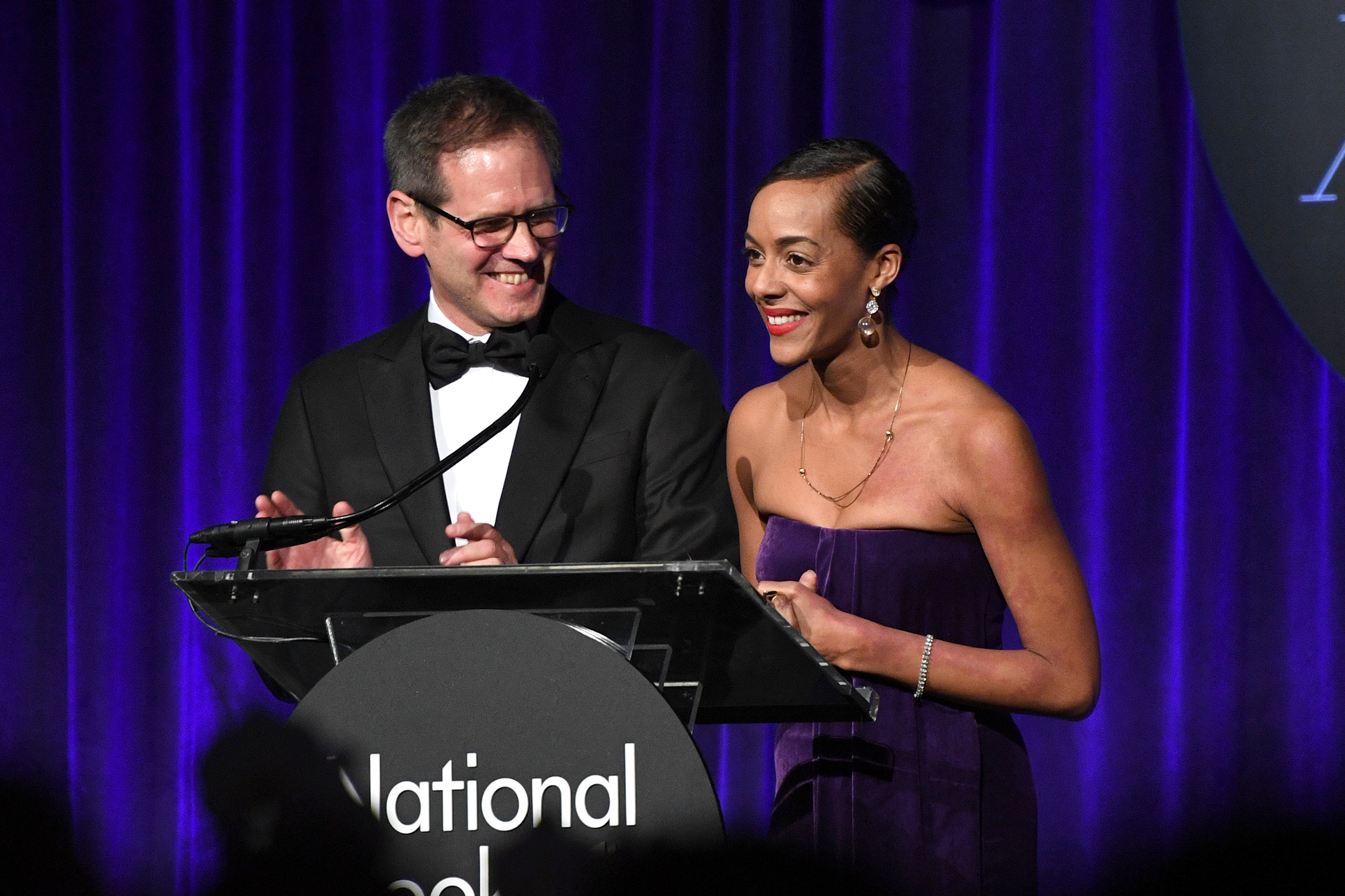 David Steinberger and Lisa Lucas speak onstage during the 68th National Book Awards at Cipriani Wall Street on November 15, 2017 in New York City.
