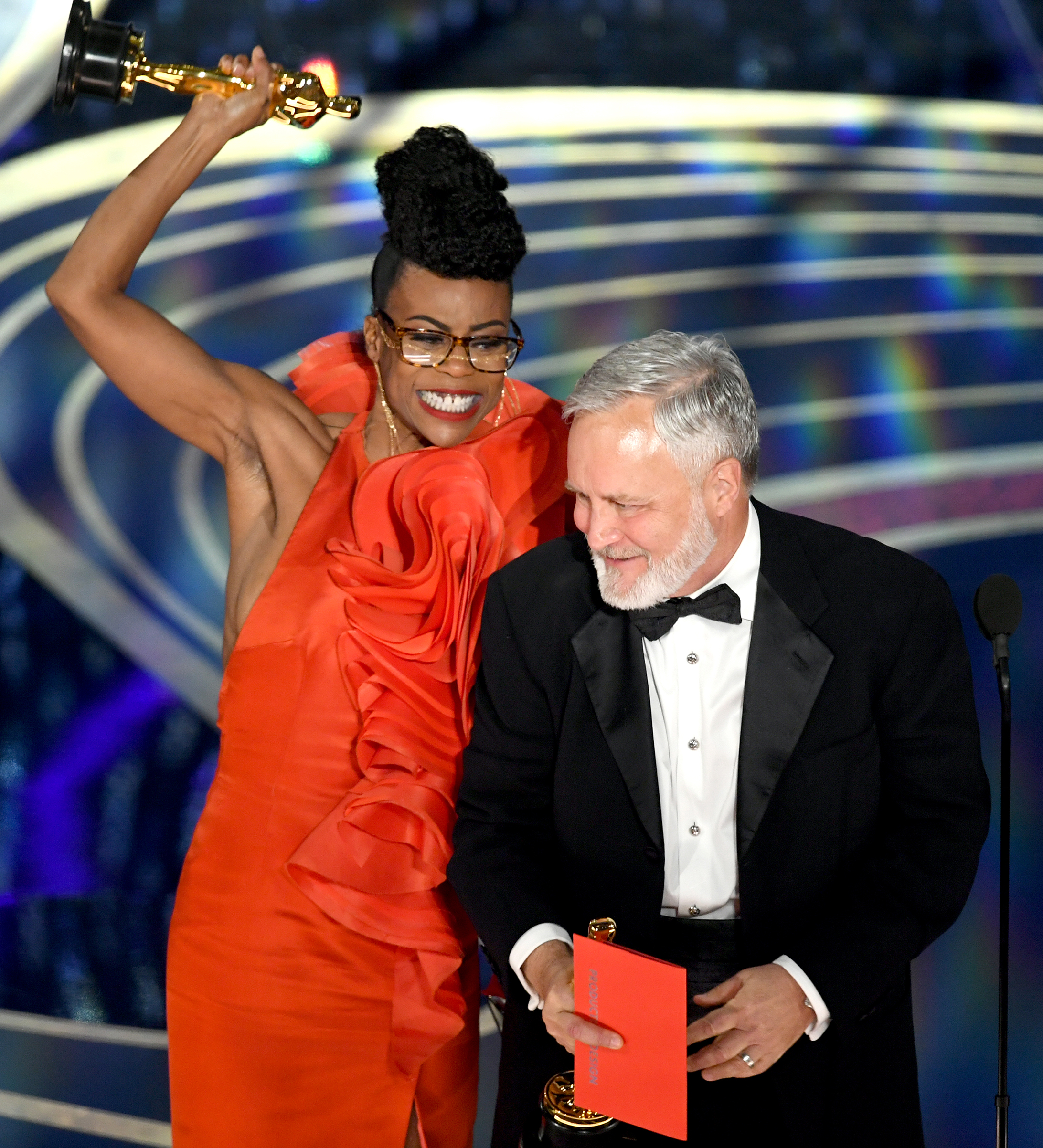 Hannah Beachler and Jay Hart accept the Production Design award for 'Black Panther' onstage during the 91st Annual Academy Awards at Dolby Theatre on Feb. 24, 2019.