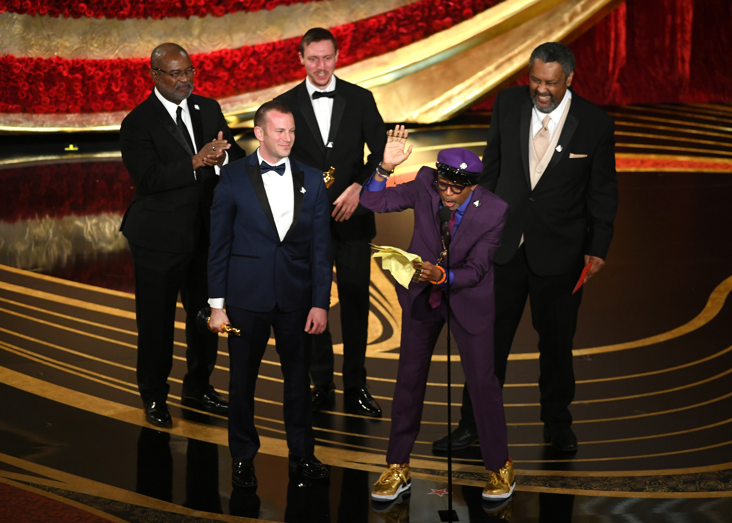Spike Lee, David Rabinowitz , Kevin Willmott and Charlie Wachtel accept the Best Adapted Screenplay award for  BlacKkKlansman  onstage during the 91st Annual Academy Awards at Dolby Theatre on Feb. 24, 2019.
