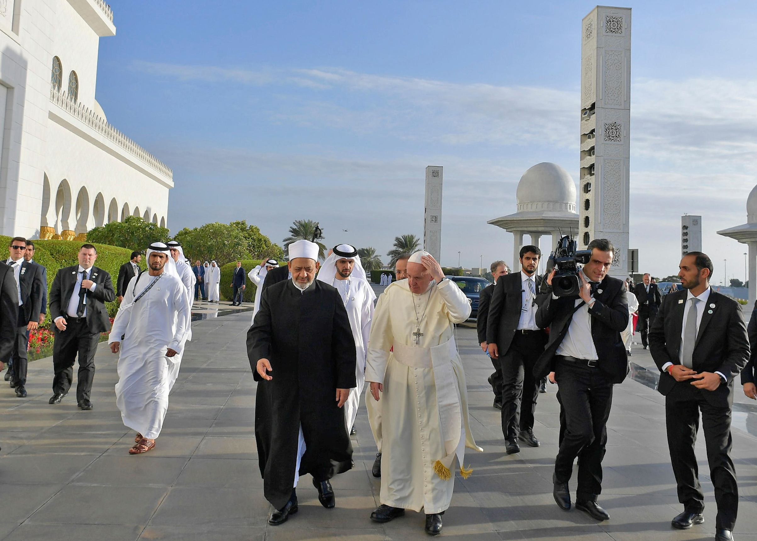 Pope Francis with Ahmed el-Tayeb, the Grand Imam of al-Azhar, at an Abu Dhabi mosque on Feb. 4