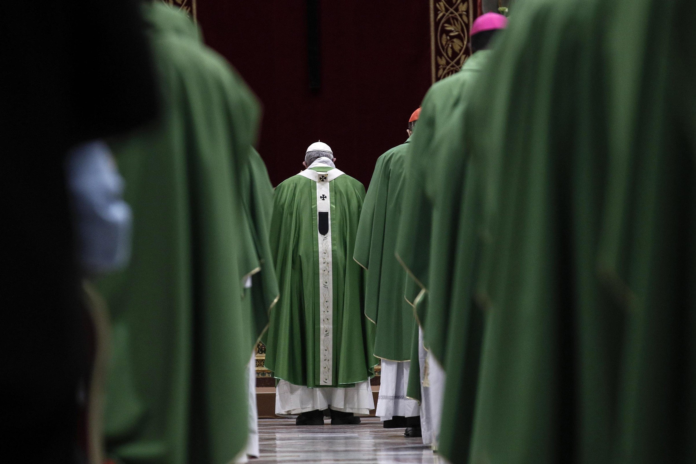 Pope Francis celebrates Mass in the Vatican on Feb. 24, the final day of his landmark sex-abuse summit