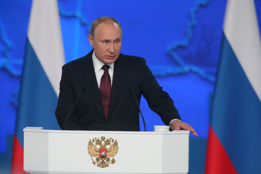Russian President Vladimir Putin delivers his annual address to the nation on Feb. 20, 2019 in Moscow, Russia. He warned the United States that if they put new missiles in Europe, Russia will retaliate.