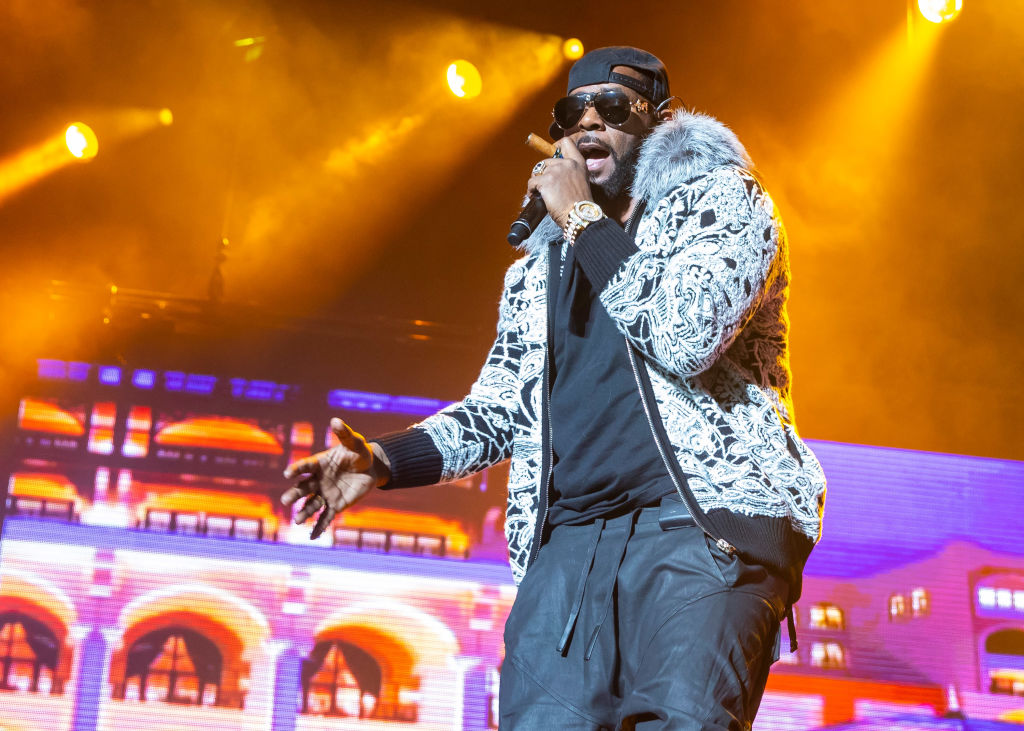 R. Kelly performs at Little Caesars Arena in Detroit, Michigan at Little Caesars Arena on Feb. 21, 2018 in Detroit, Michigan. On Feb. 22, Kelly was charged with 10 counts of aggressive criminal sexual abuse.