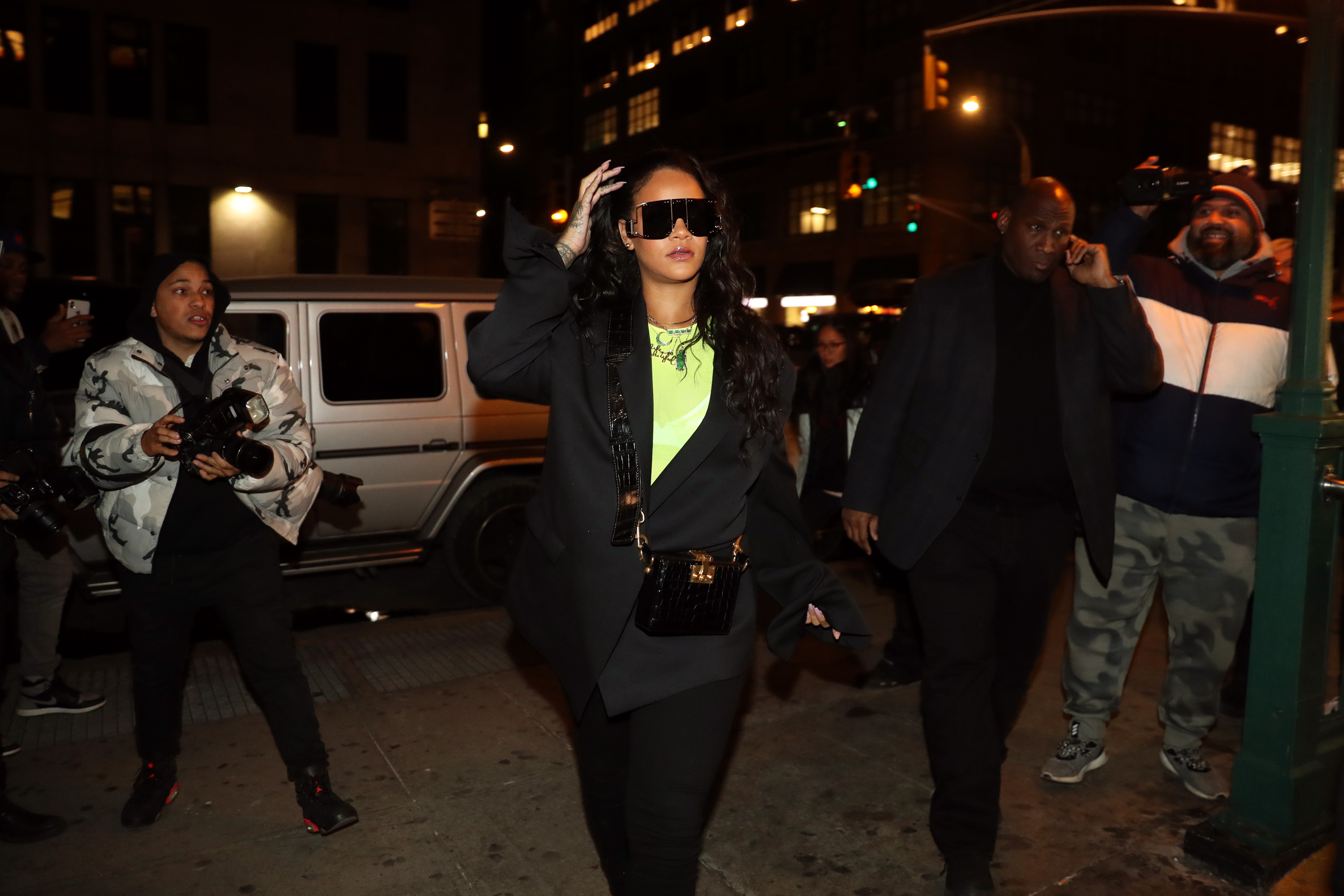 Rihanna (c) attends 718 Spank In Concert at S.O.B.'s on January 14, 2019 in New York City.