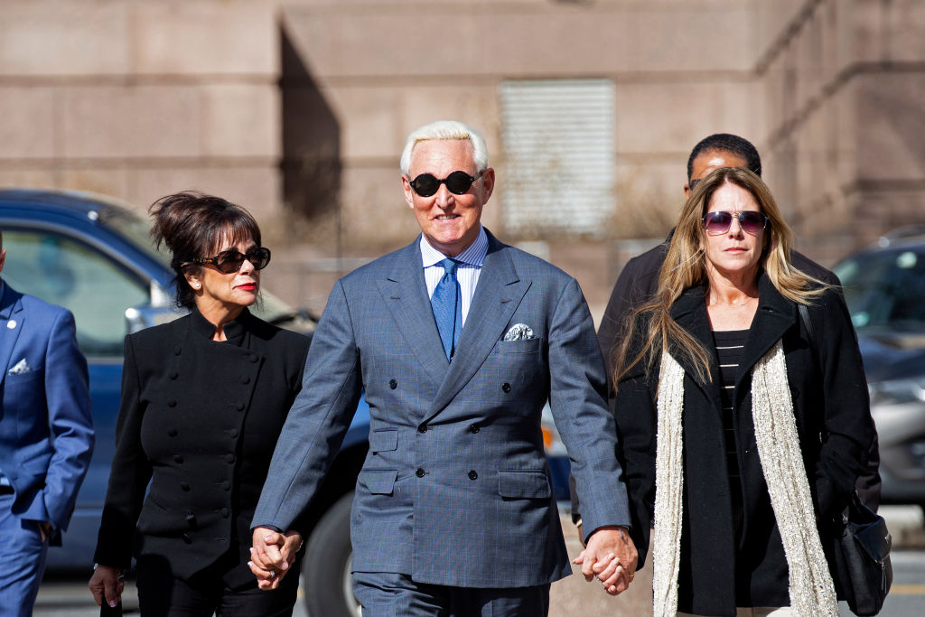 Roger Stone, former adviser and longtime associate of President Trump, arrives at the E. Barrett Prettyman U.S. Courthouse on Feb. 21, 2019 in Washington, DC.