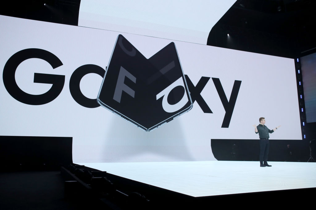 Samsung senior vice president of product marketing Justin Denison announces the new Samsung Galaxy Fold smartphone during the Samsung Unpacked event in San Francisco, on Feb. 20, 2019.