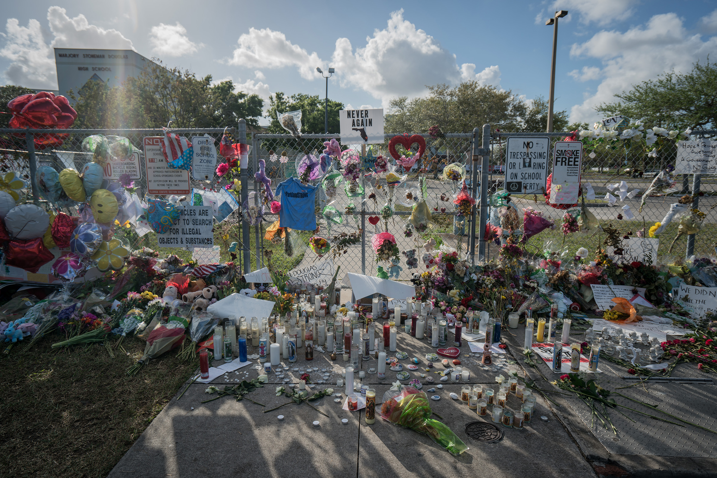 A makeshift memorial at Marjory Stoneman Douglas High School in Parkland, Fla. on Feb. 25, 2018.