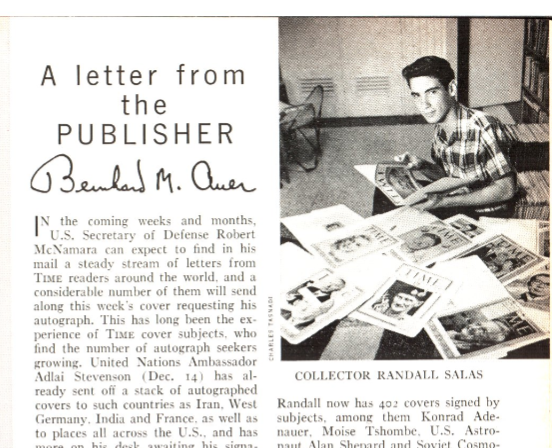 Randall Salas in the Feb. 15, 1963, issue of TIME