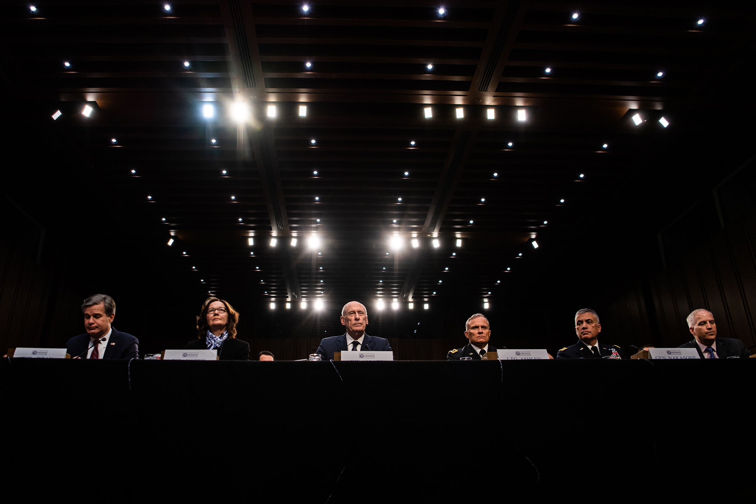 From left, FBI Director Christopher Wray, CIA Director Gina Haspel, Director of National Intelligence Daniel Coats, Defense Intelligence Agency Director Gen. Robert Ashley, National Security Agency Director Gen. Paul Nakasone and National Geospatial-Intelligence Agency Director Robert Cardillo testify to the Senate Intelligence Committee on worldwide threats on Jan. 29, 2019.