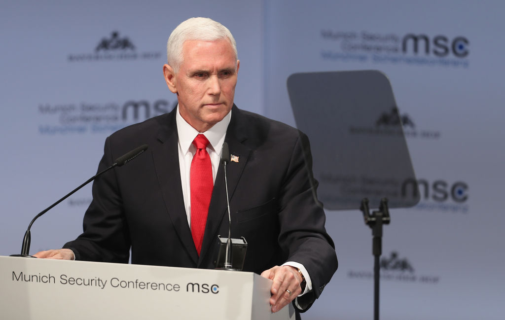 US Vice President Michael Pence gives a speech during the 55th Munich Security Conference (MSC) on Feb. 16, 2019 in Munich, Germany. Spain dismissed the appeal Pence made for NATO allies to fill the void the US will leave behind when troops leave.