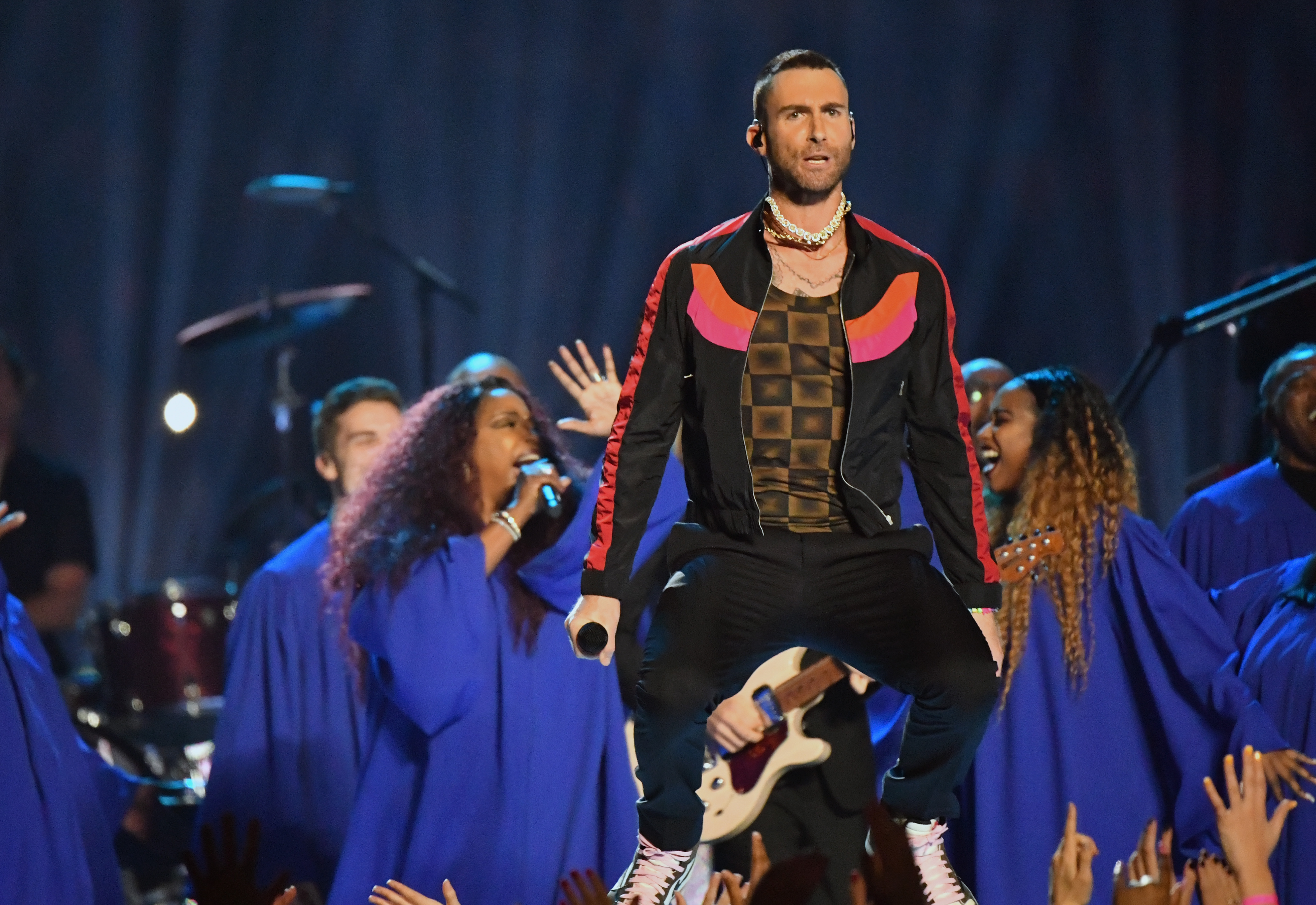Adam Levine of Maroon 5 performs during the Pepsi Super Bowl 53 Halftime Show at Mercedes-Benz Stadium on February 3, 2019 in Atlanta, Georgia.