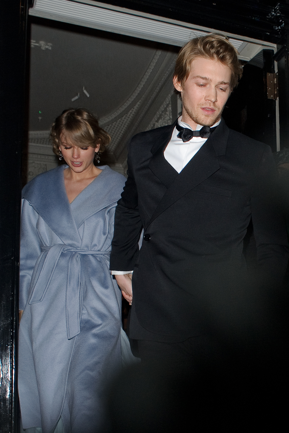Taylor Swift and Joe Alwyn seen attending the Vogue BAFTA party at Annabel's club in Mayfair on February 10, 2019 in London, England. (Photo by GOR/GC Images)