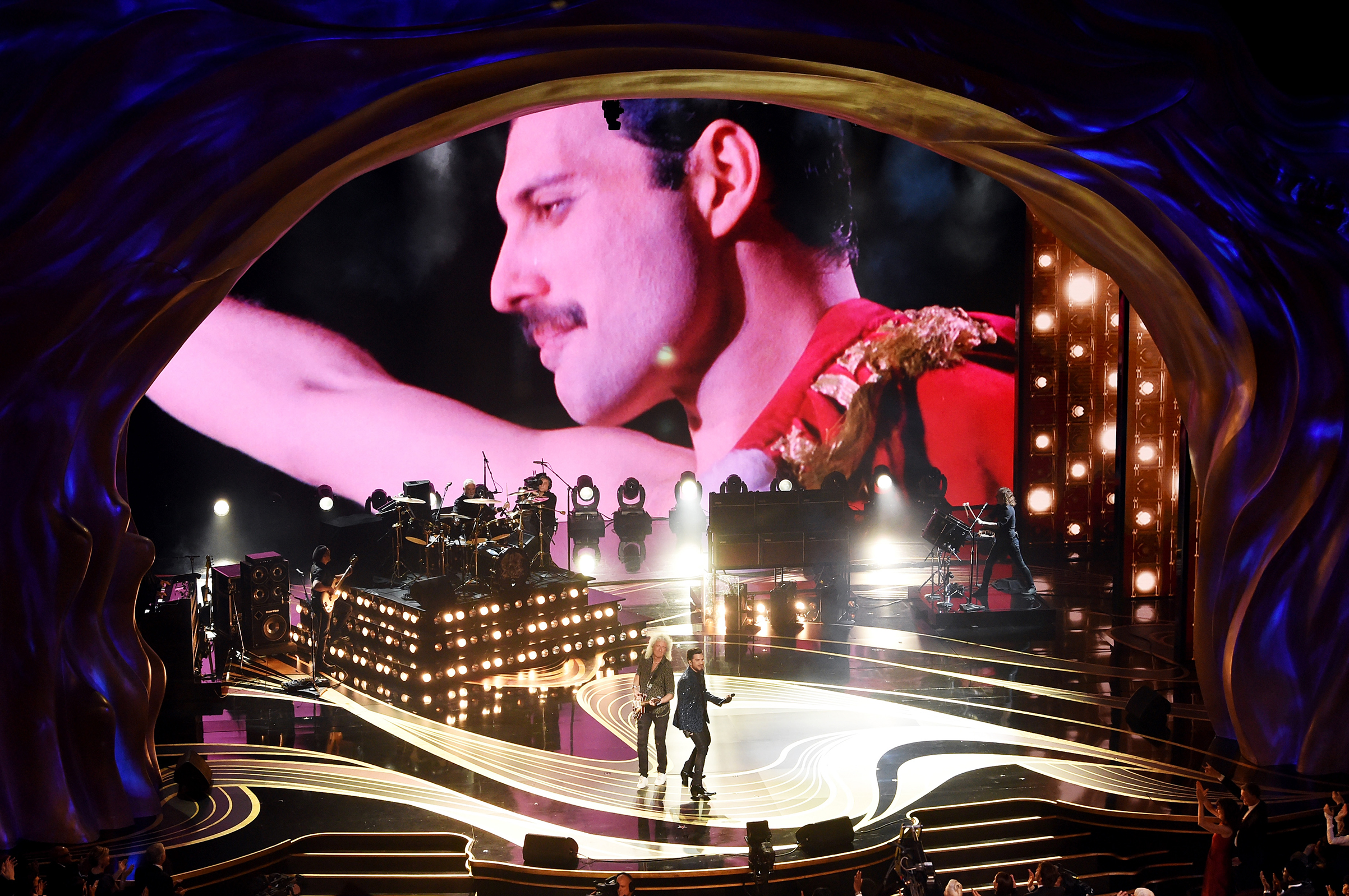 An image of the late Freddie Mercury is projected onto a screen while Adam Lambert + Queen perform onstage during the 91st Annual Academy Awards at Dolby Theatre on Feb. 24, 2019.