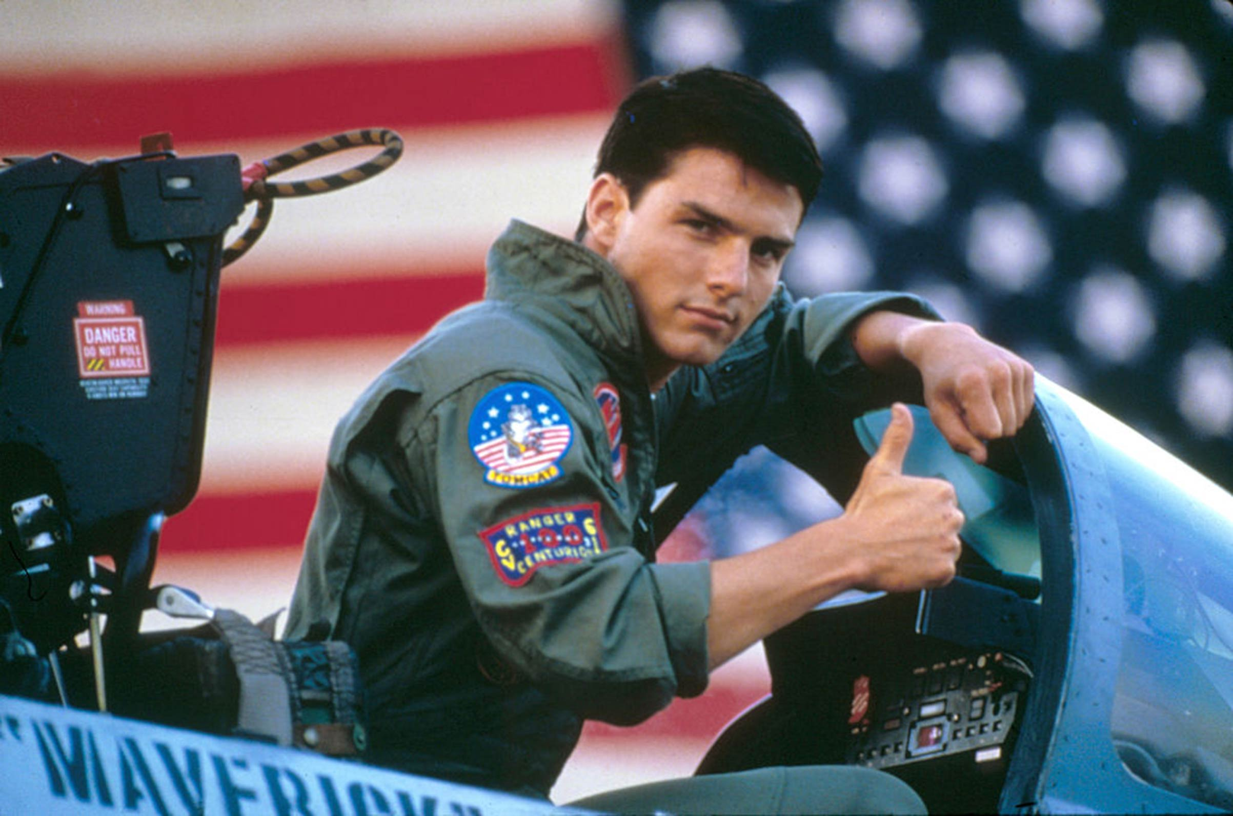 Actor Tom Cruise on the set of Top Gun, directed by Tony Scott.