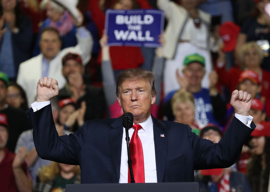 President Donald Trump speaks during a rally at the  El Paso County Coliseum on February 11, 2019 in El Paso, Texas.
