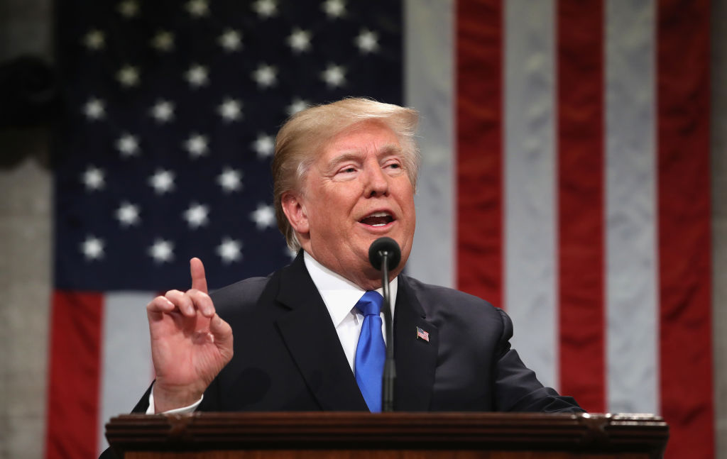 U.S. President Donald Trump gestures during the State of the Union address in the chamber of the US House of Representatives in Washington, D.C. on Jan. 30, 2018. It was reported on Feb. 5, 2019 ahead of the State of the Union by multiple sources that President Trump will not declare a national emergency about the U.S.-Mexico border during the address unlike he speculated the week before.